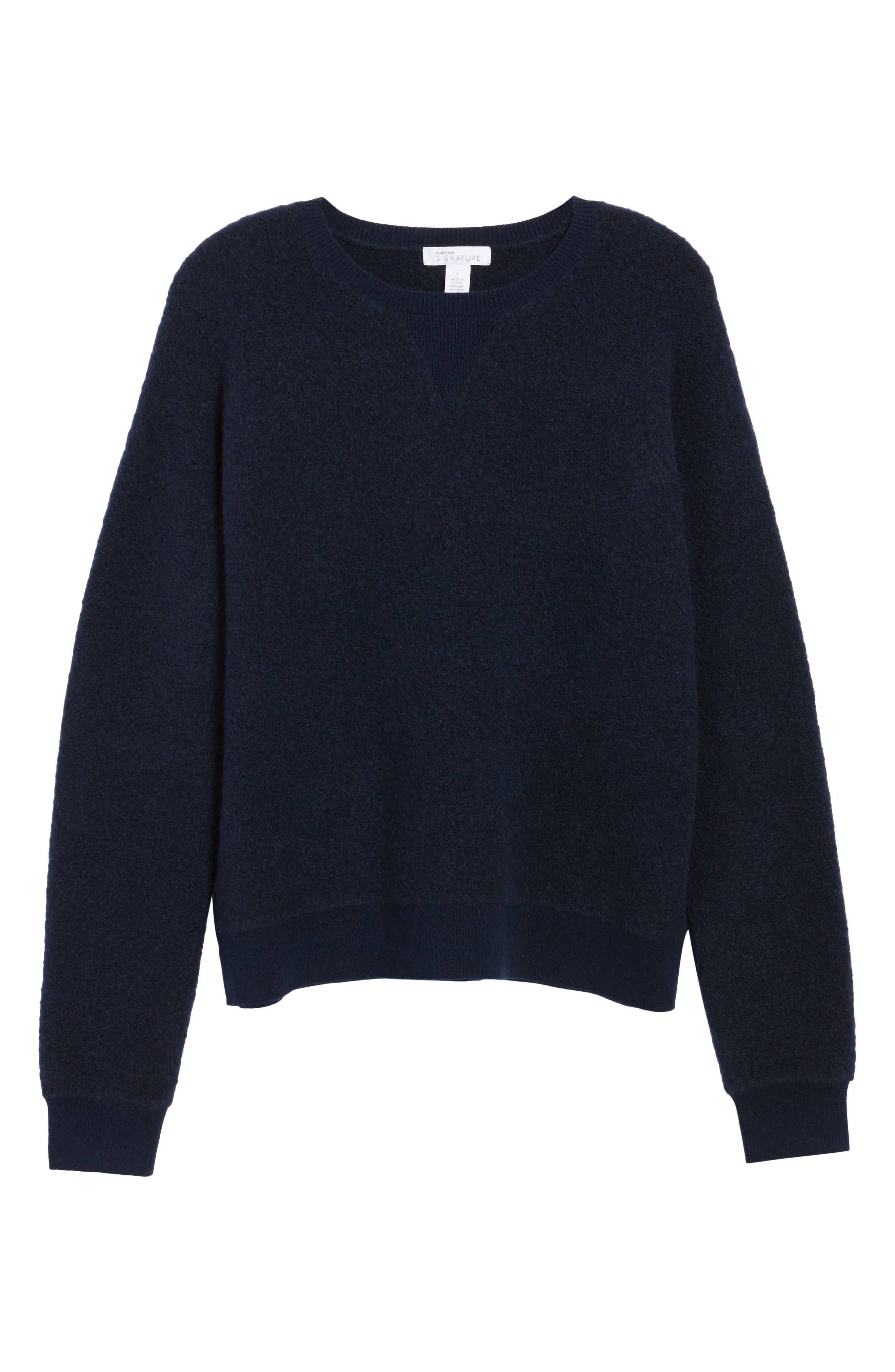 Cashmere Blend Bouclé Sweater,                             Alternate thumbnail 6, color,                             Navy Medieval