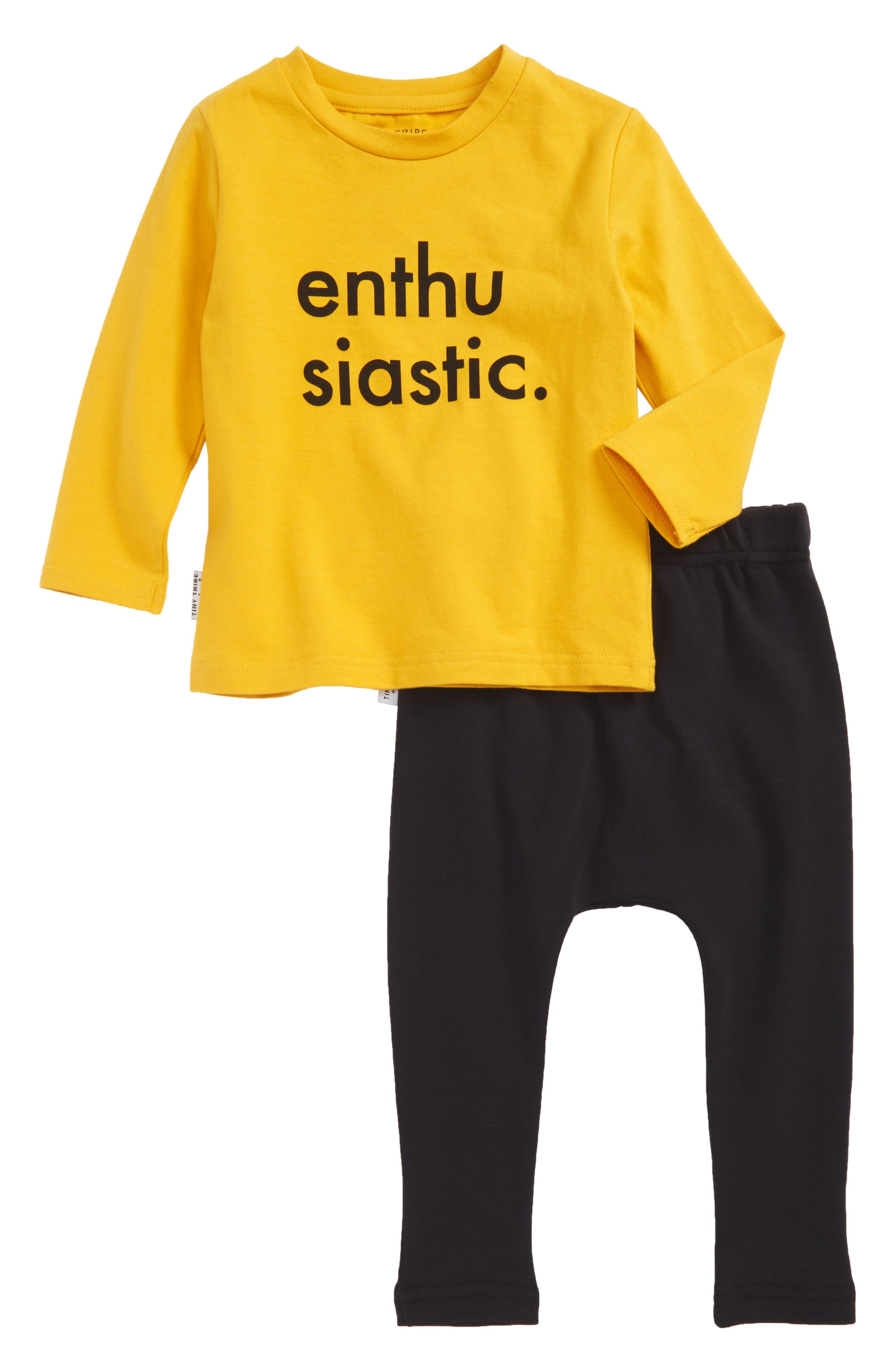 Enthusiastic T-Shirt & Jogger Pants Set,                         Main,                         color, Mustard