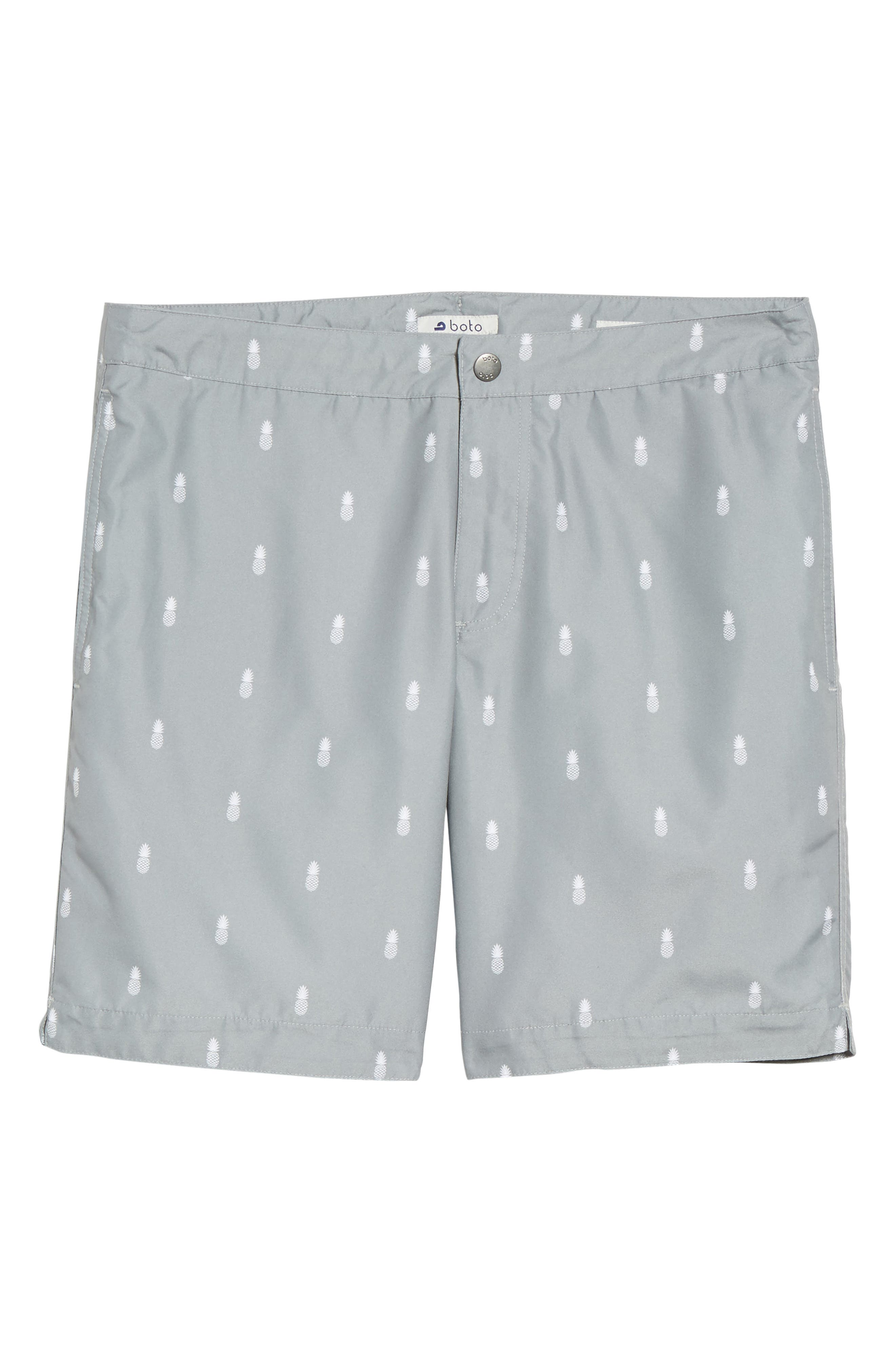 Aruba Tailored Fit Swim Trunks,                             Alternate thumbnail 6, color,                             Grey Pineapple Print