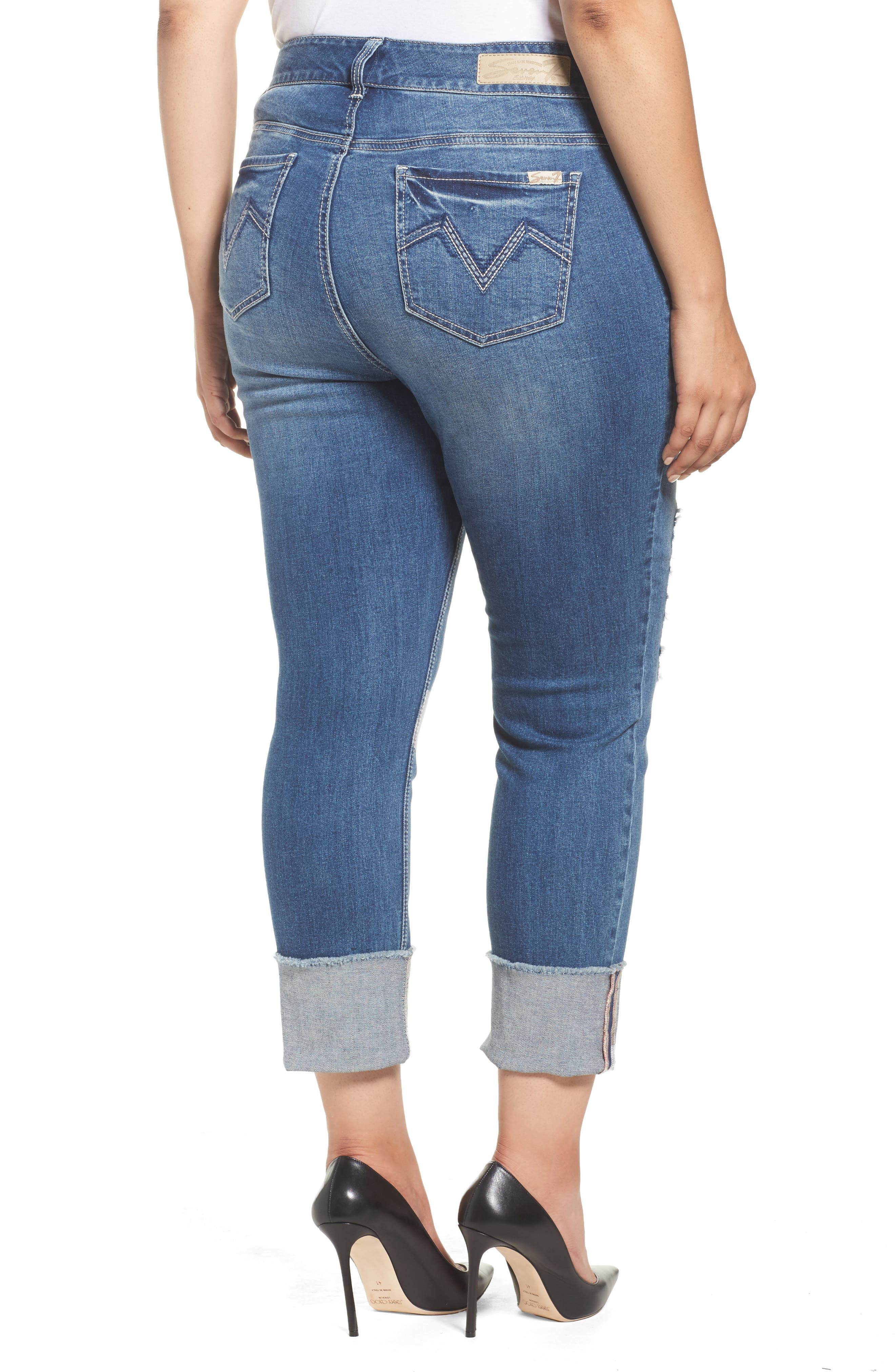 Alternate Image 2  - Seven7 Distressed Slim Raw Hem Cuffed Jeans (Concorde) (Plus Size)