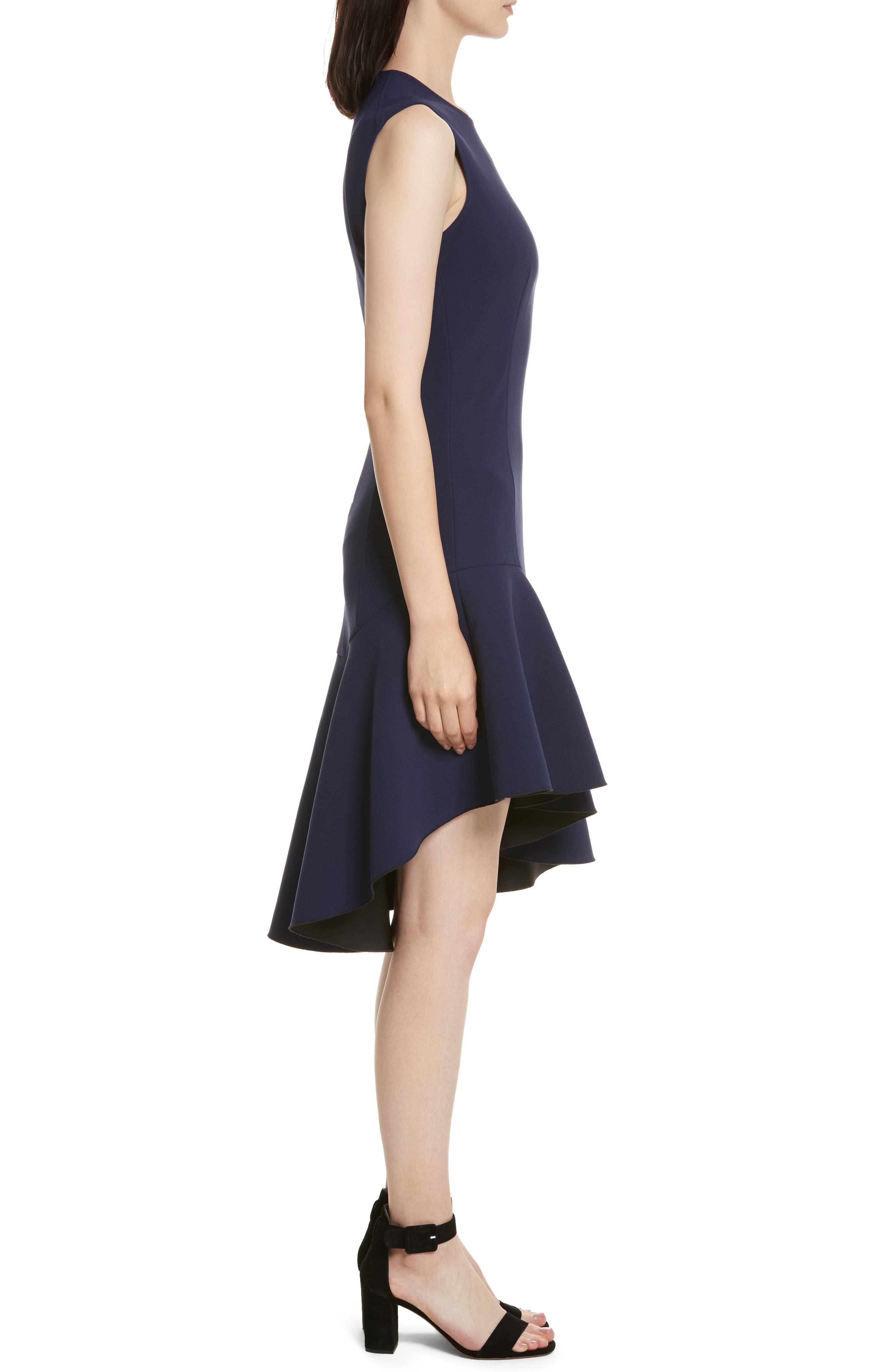 Dev Ruffle Fit & Flare Dress,                             Alternate thumbnail 3, color,                             Blue Violet/ Black
