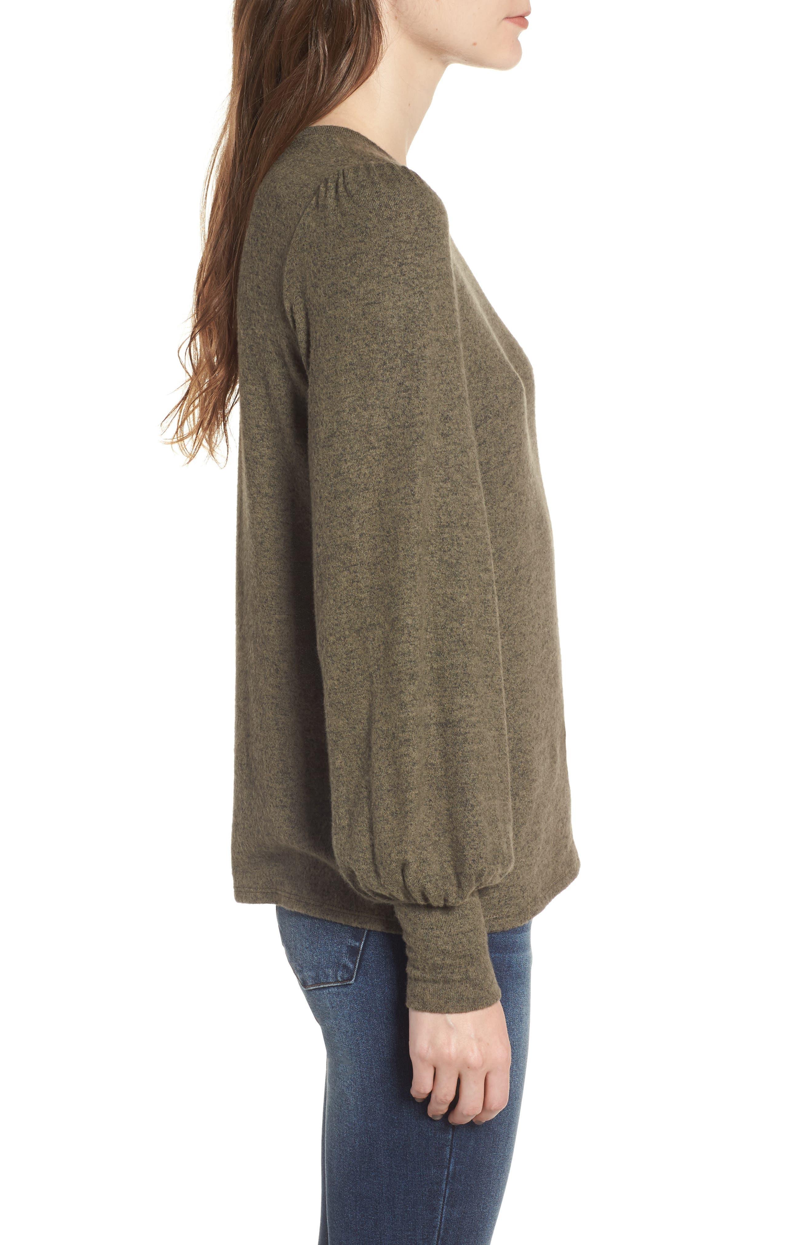 Bell Sleeve Pullover,                             Alternate thumbnail 3, color,                             Green