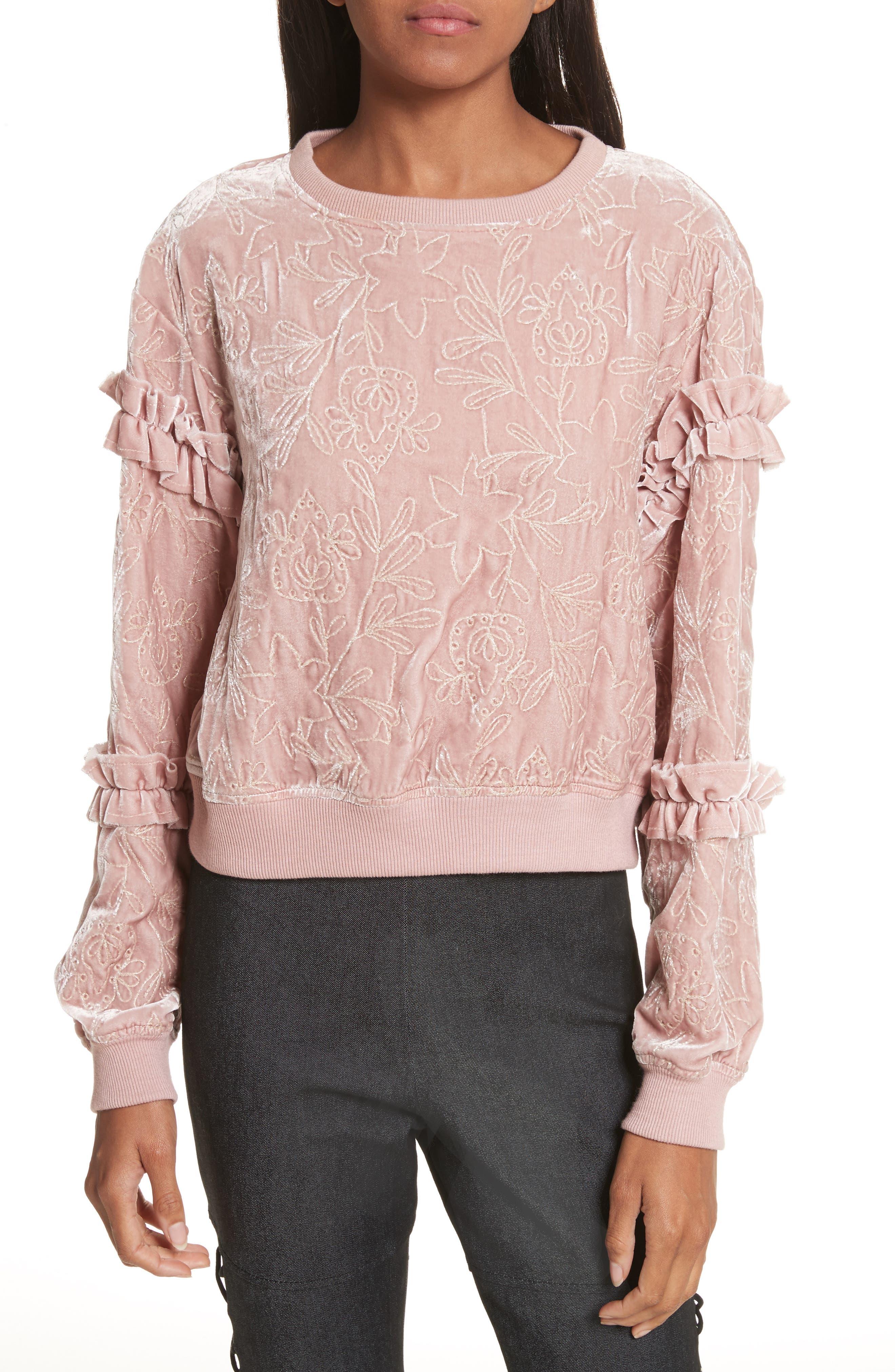 Nara Embroidered Velvet Sweatshirt,                         Main,                         color, Mauve