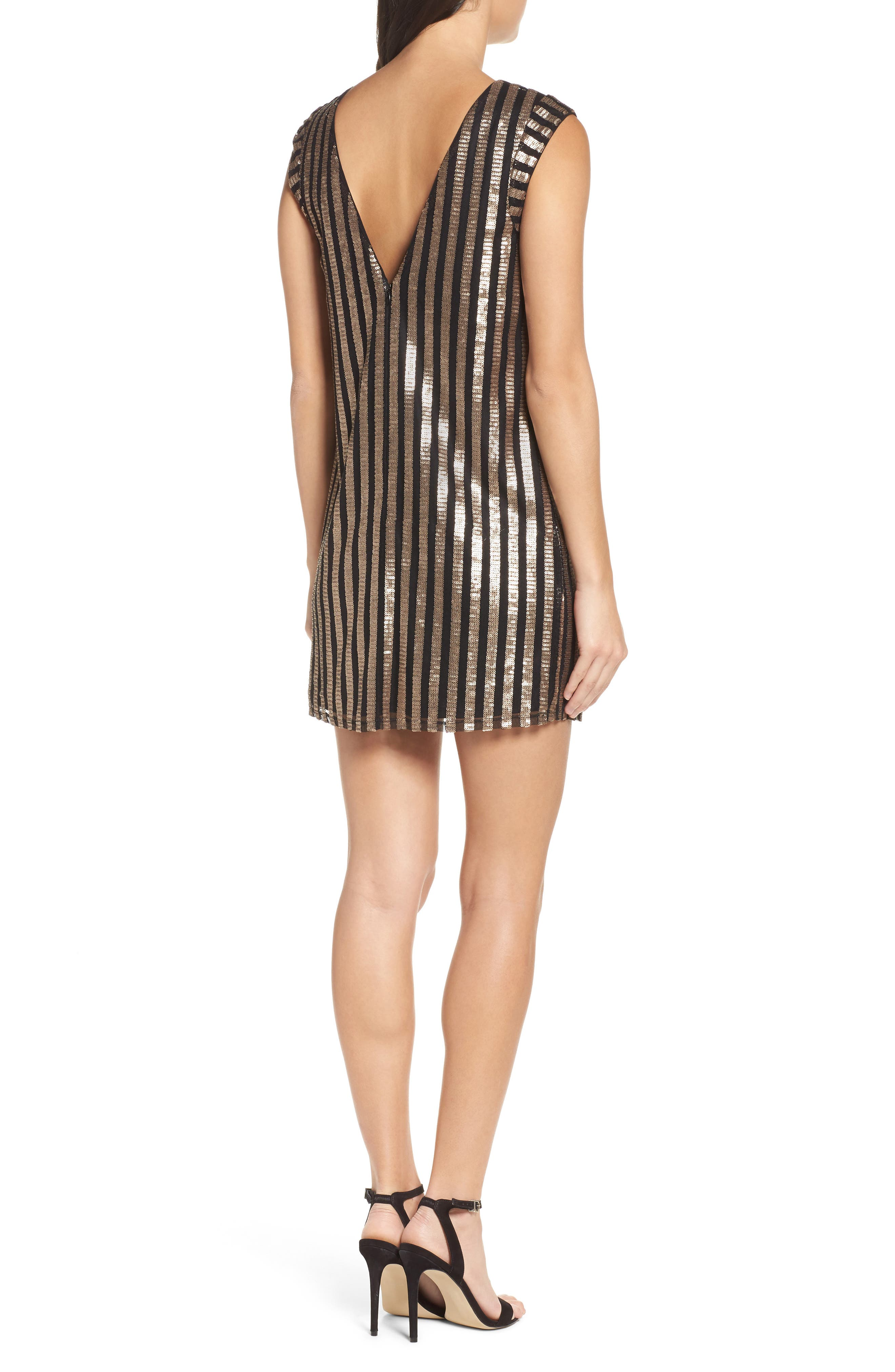 Bianca Sequin Minidress,                             Alternate thumbnail 3, color,                             Gold Sequin Stripe