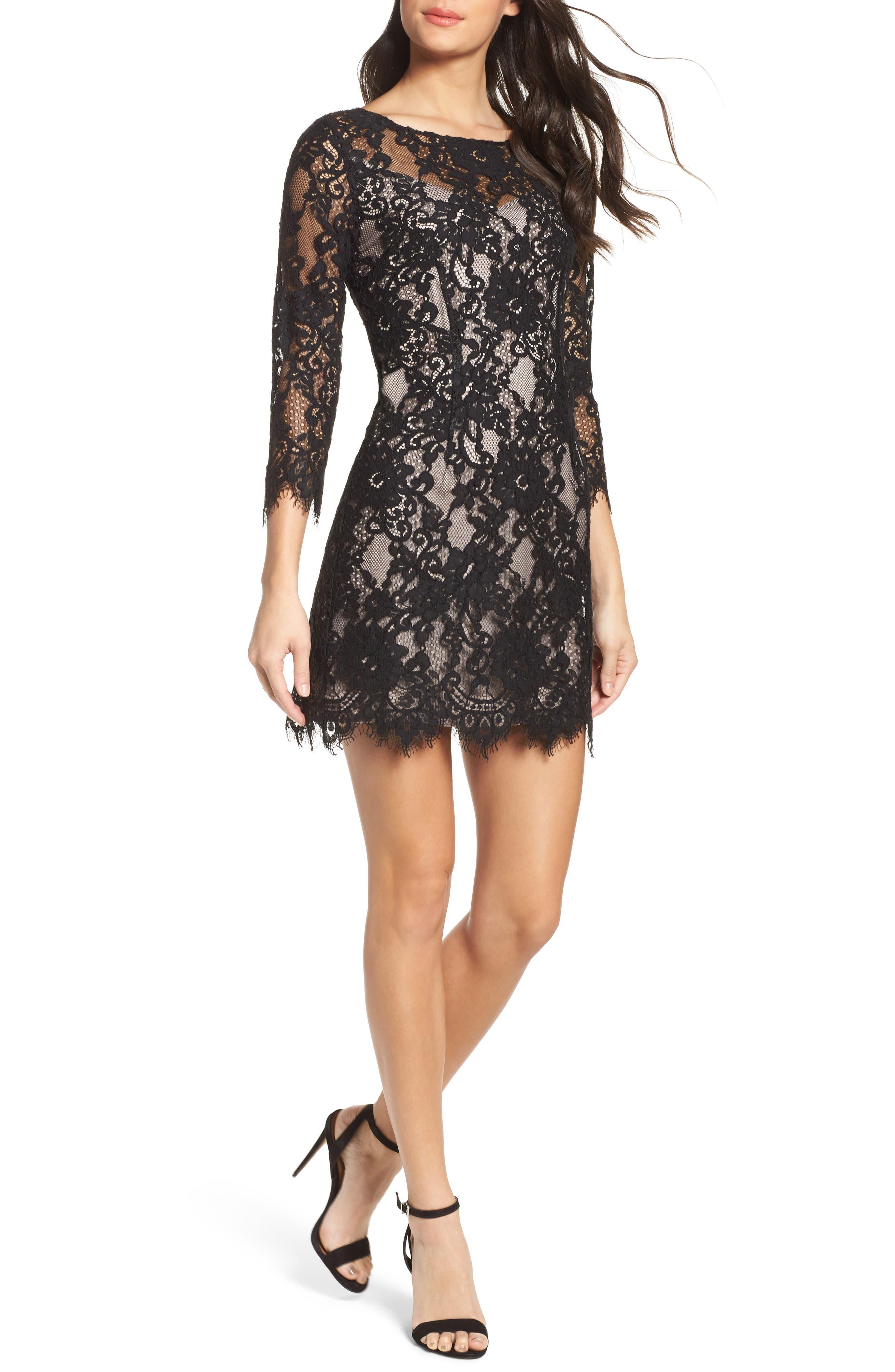 Hale Lace Sheath Dress,                             Main thumbnail 1, color,                             Black