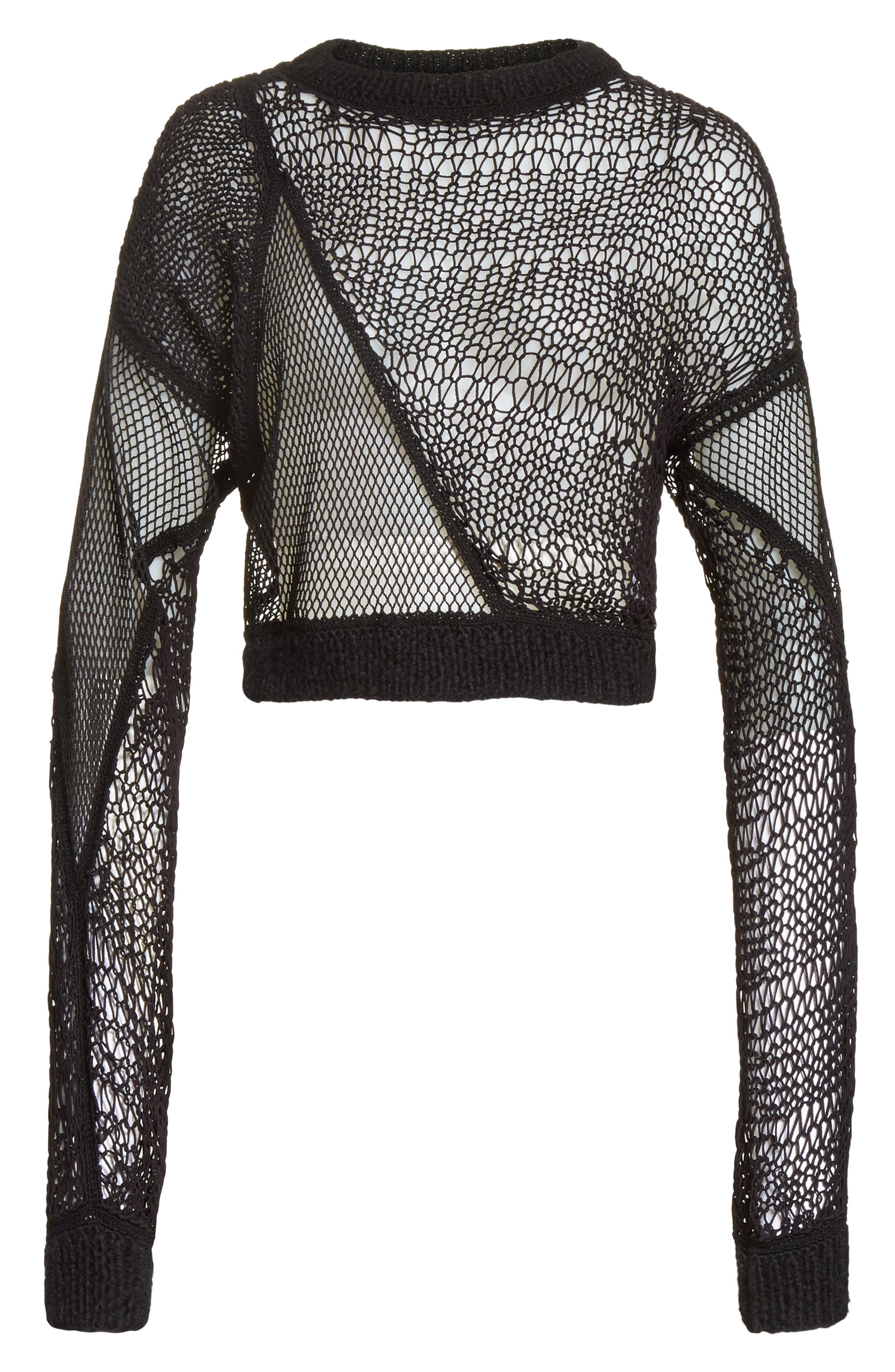 Siouxie Crew Fishnet Patchwork Sweater,                             Alternate thumbnail 6, color,                             Black