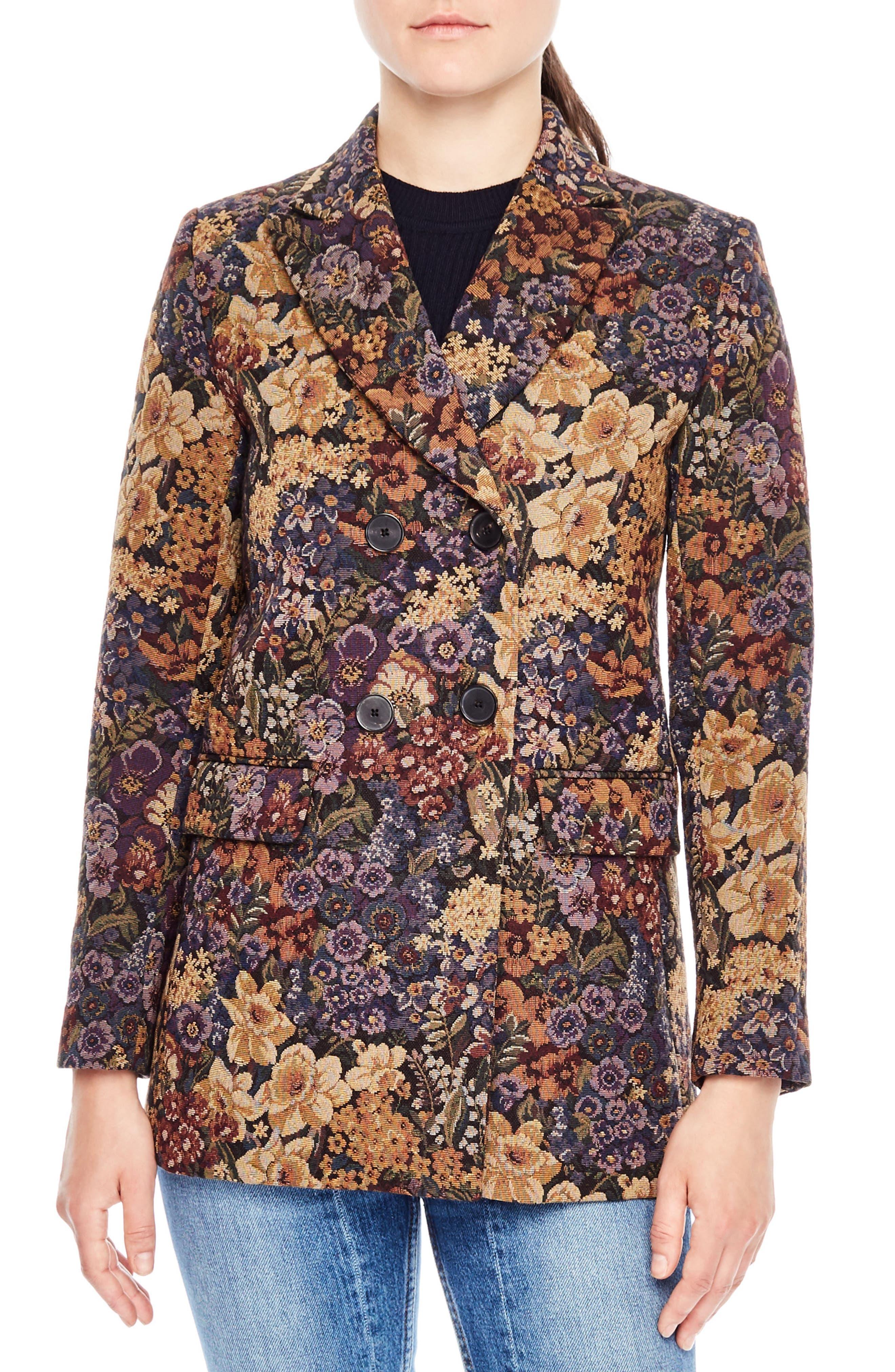 sandro Alma Print Jacquard Jacket