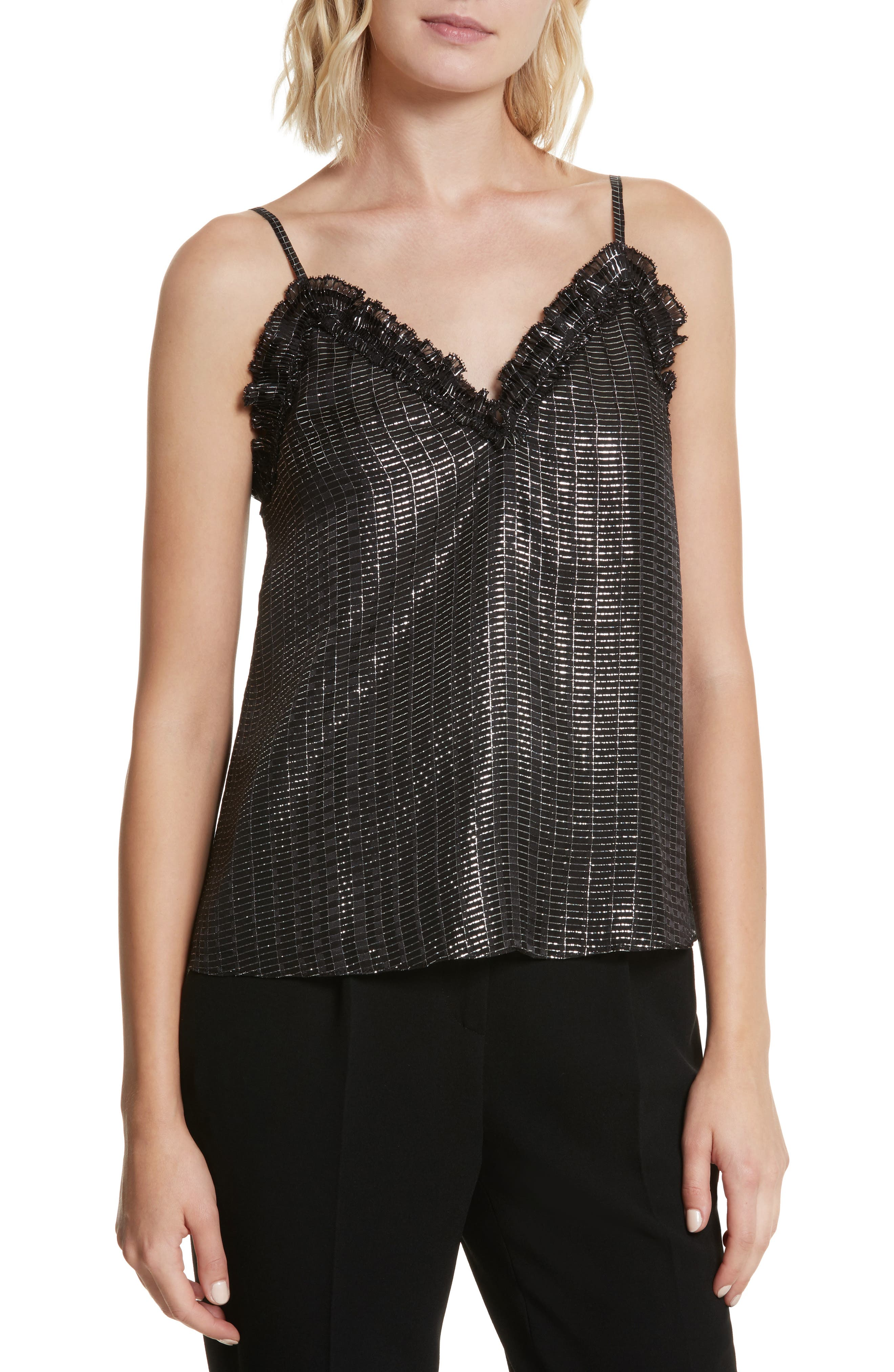 Metallic Plaid Camisole,                         Main,                         color, Black