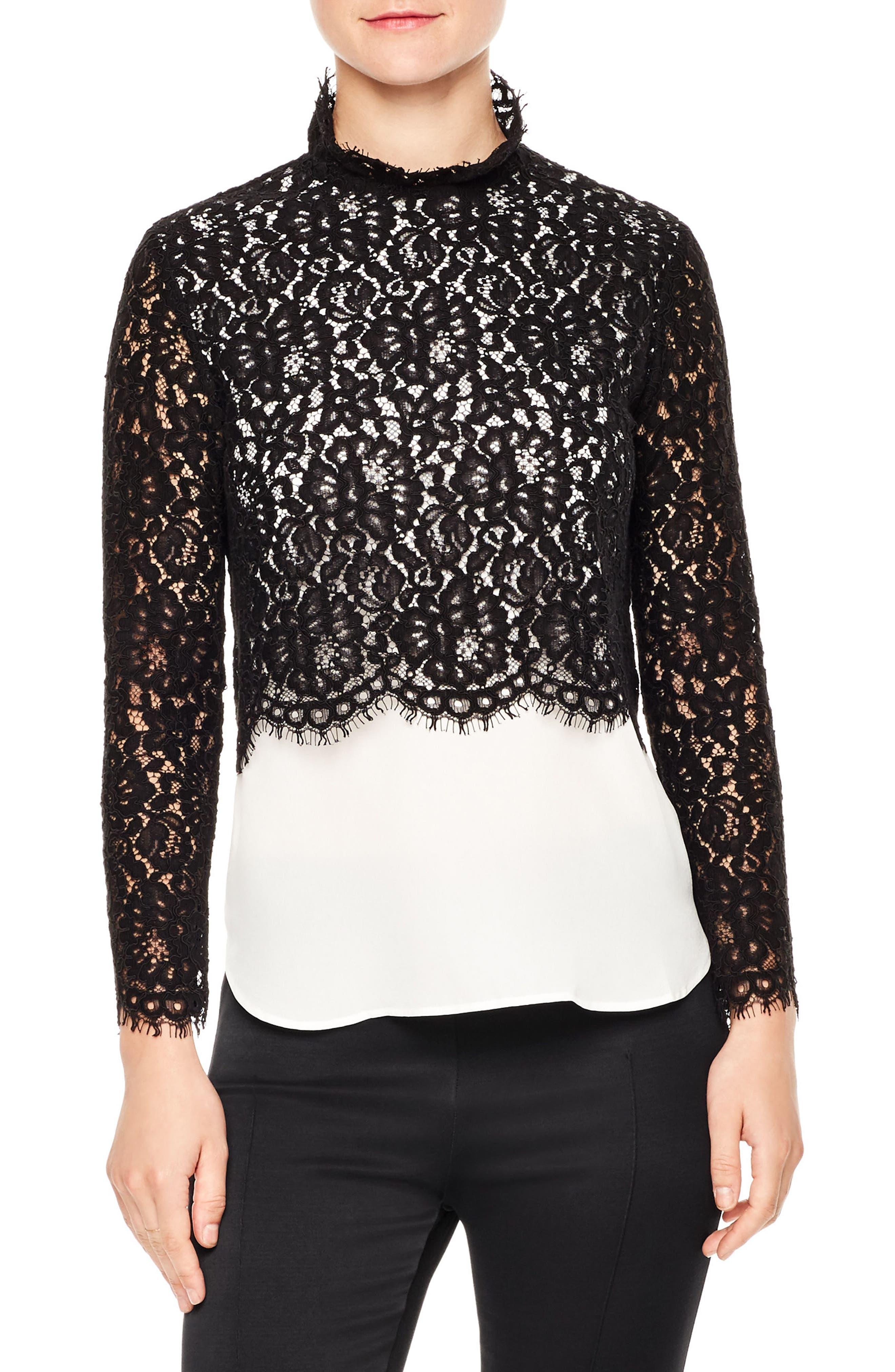 Malia Lace Top,                         Main,                         color, Black