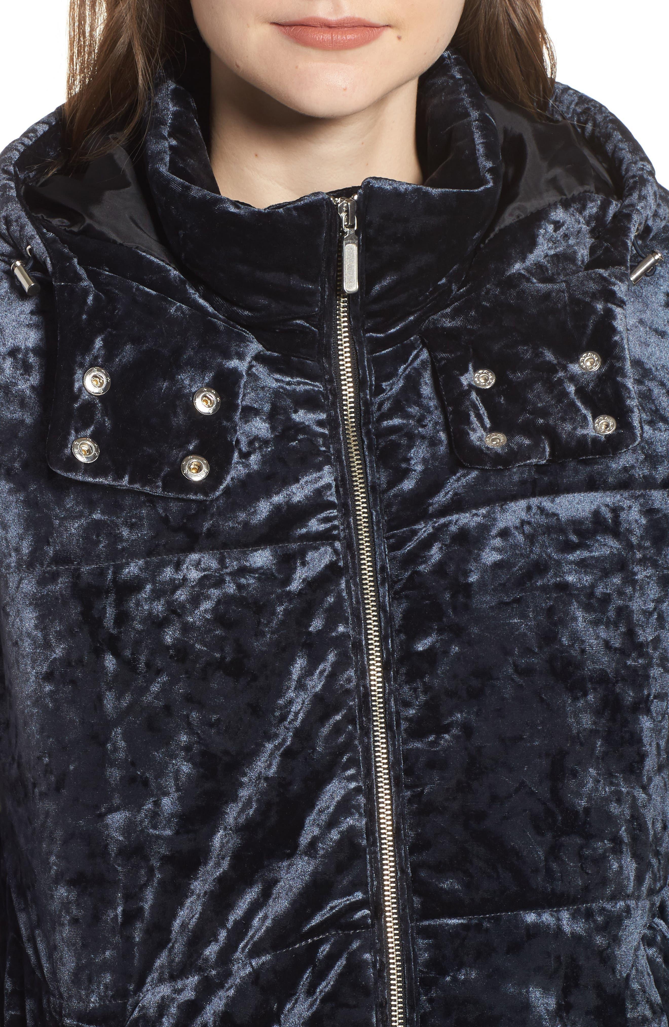 Velvet Hooded Puffer Jacket,                             Alternate thumbnail 4, color,                             Navy Medieval