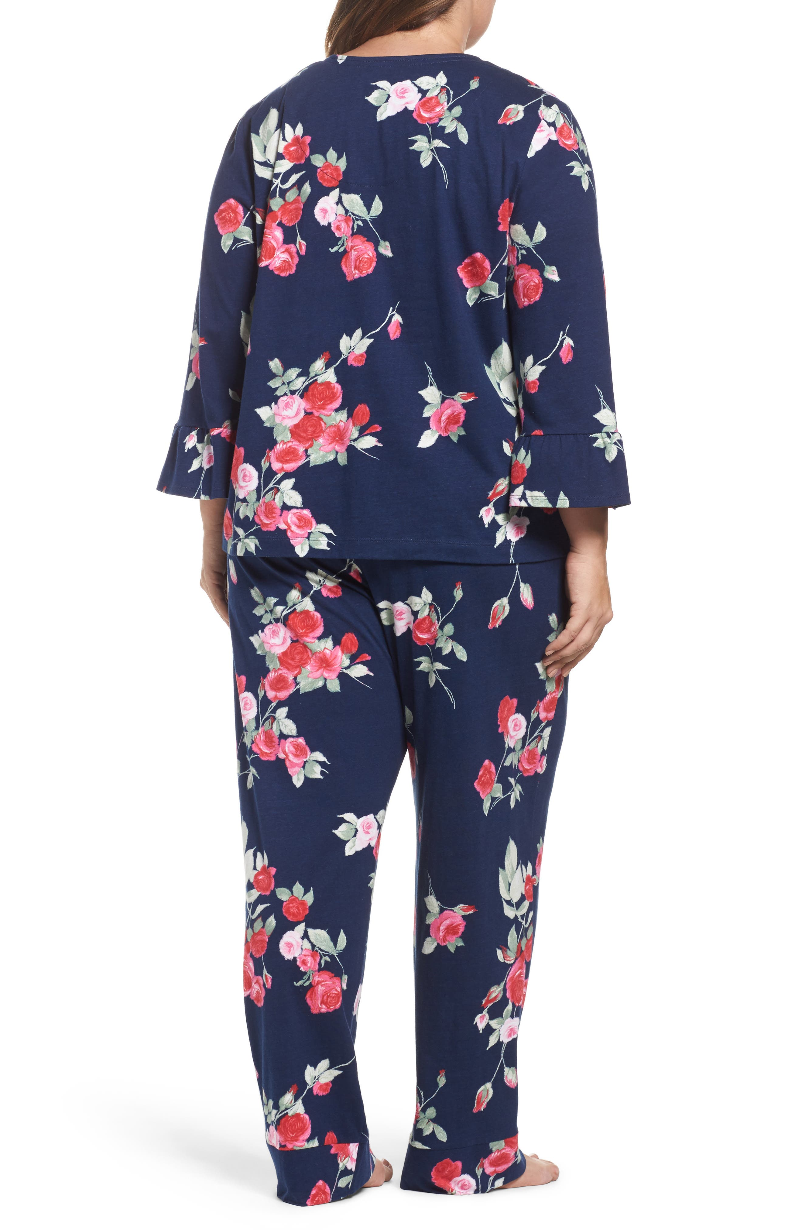 Floral Print Pajamas,                             Alternate thumbnail 2, color,                             Painted Rose