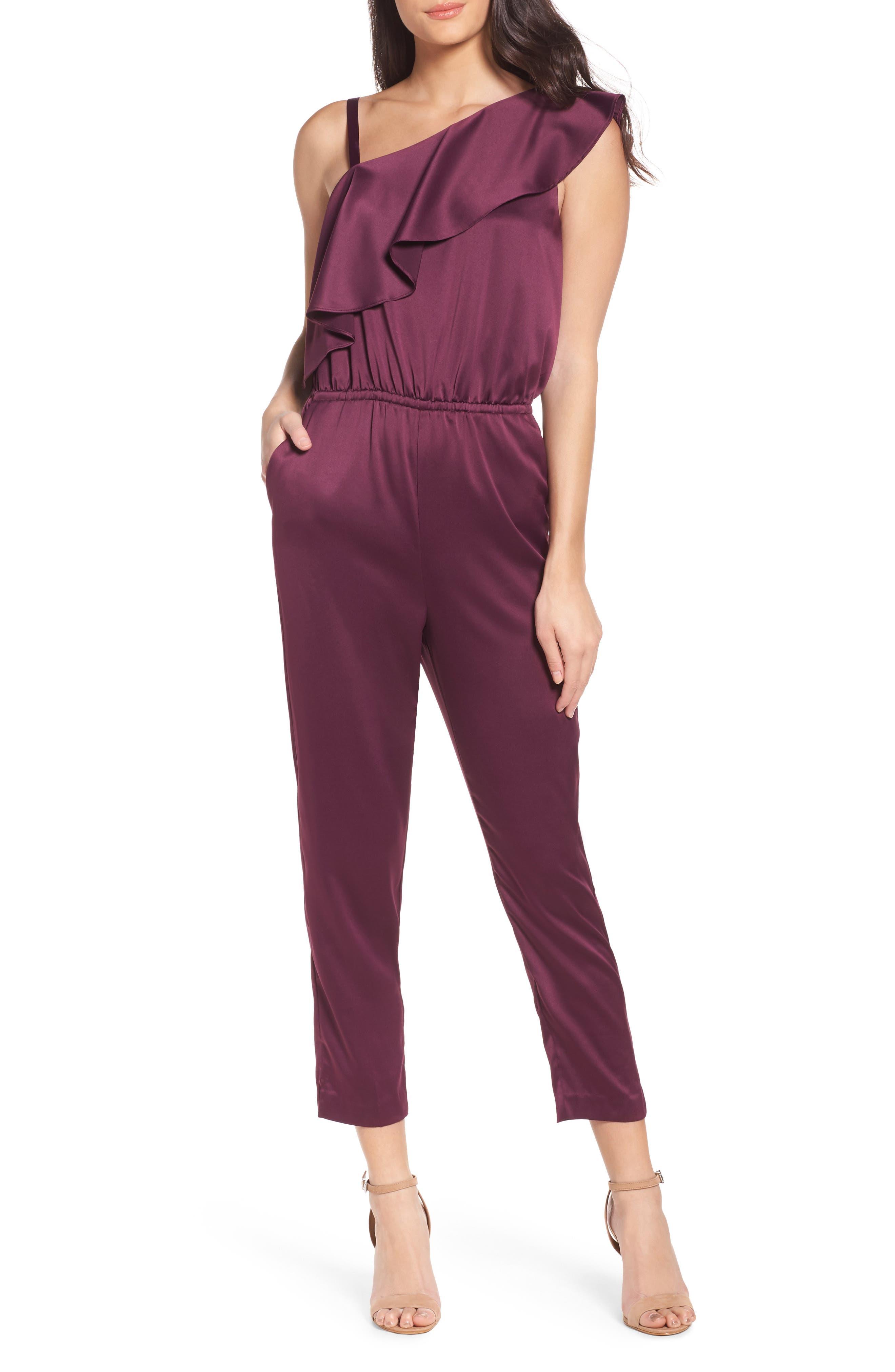 One-Shoulder Jumpsuit,                         Main,                         color, Wine