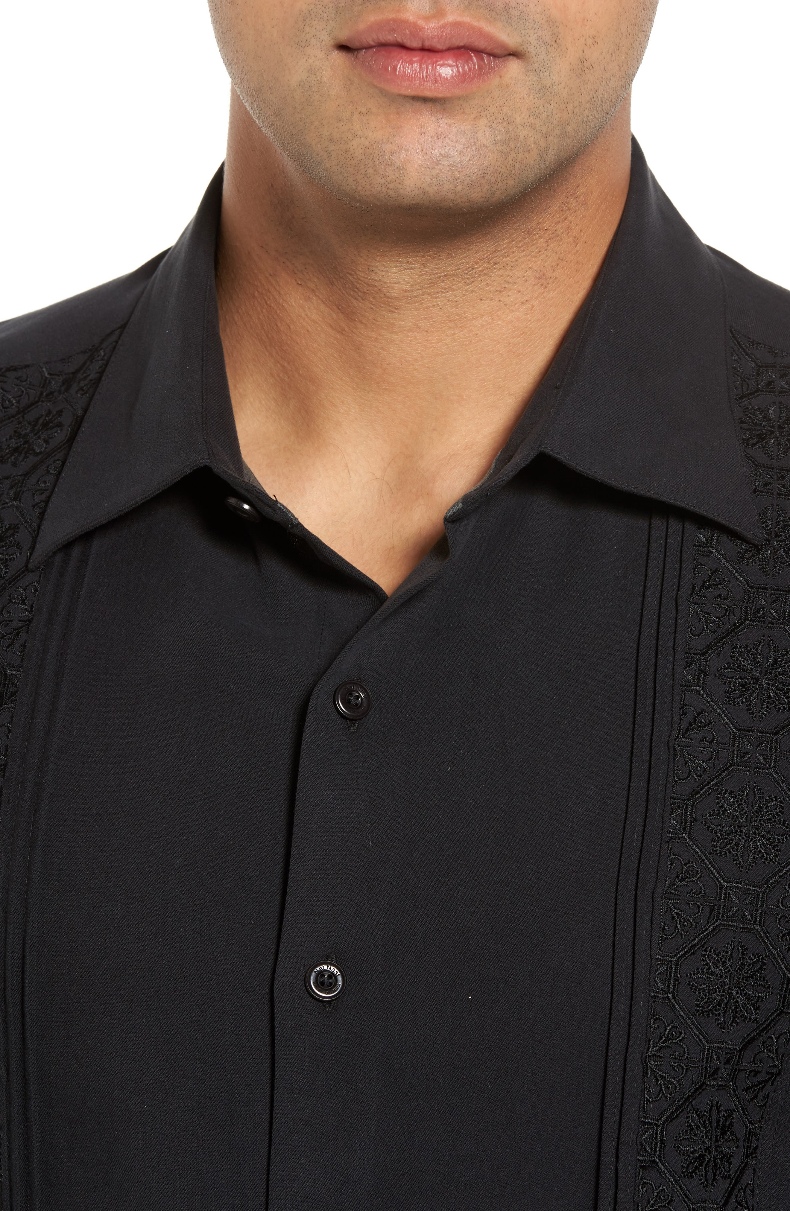 Regular Fit Embroidered Silk Sport Shirt,                             Alternate thumbnail 4, color,                             Black