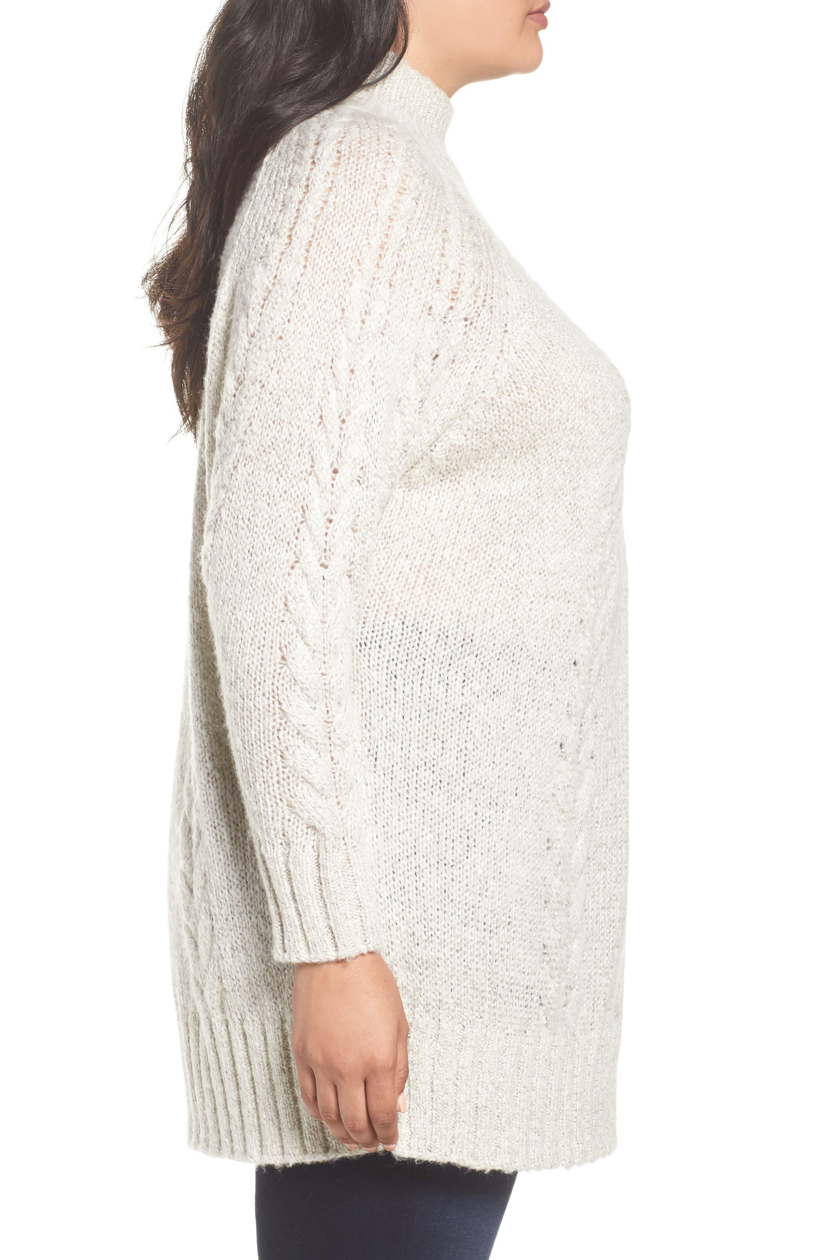 Alternate Image 4  - Caslon® Cable Knit Tunic Sweater (Plus Size)