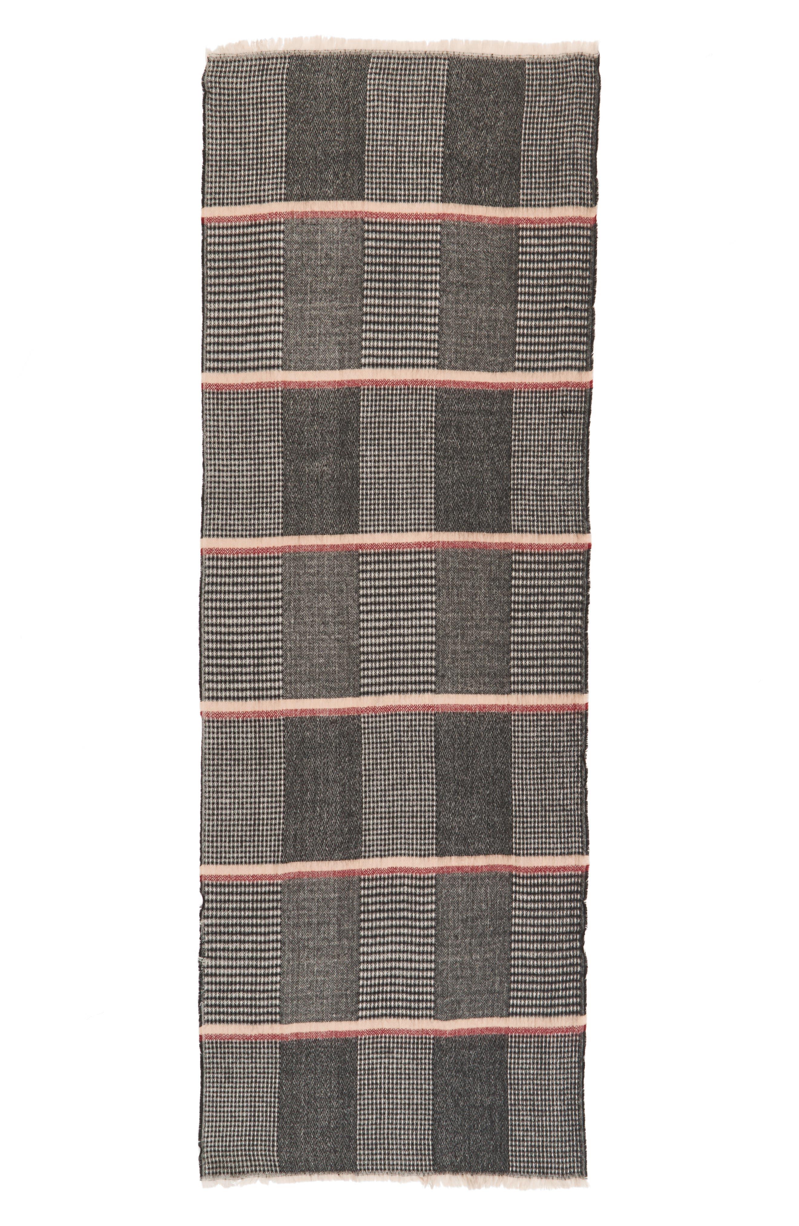Pinstripe Scarf,                             Alternate thumbnail 2, color,                             Black/ Tan