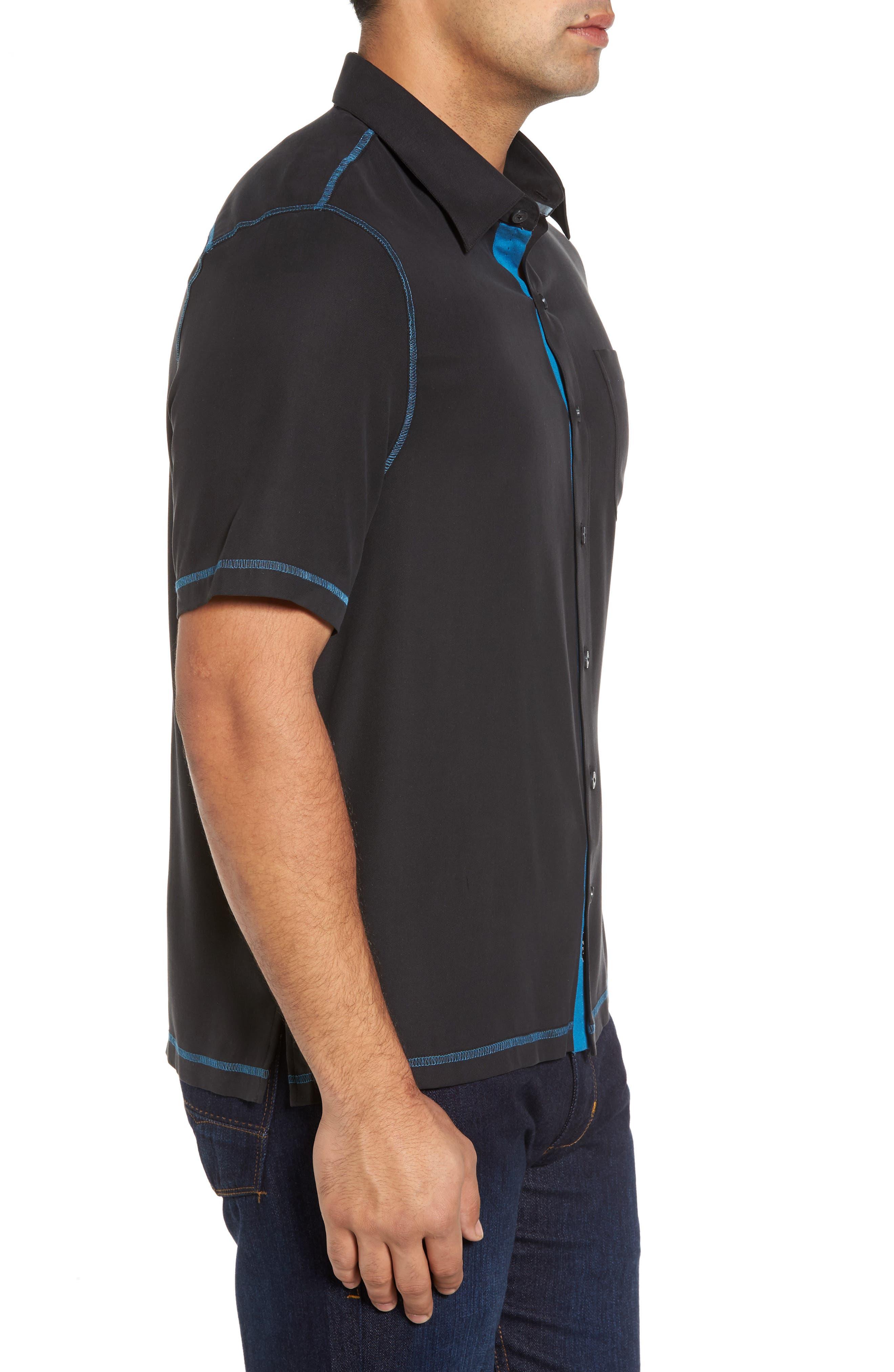 New Originals Silk Sport Shirt,                             Alternate thumbnail 3, color,                             Black