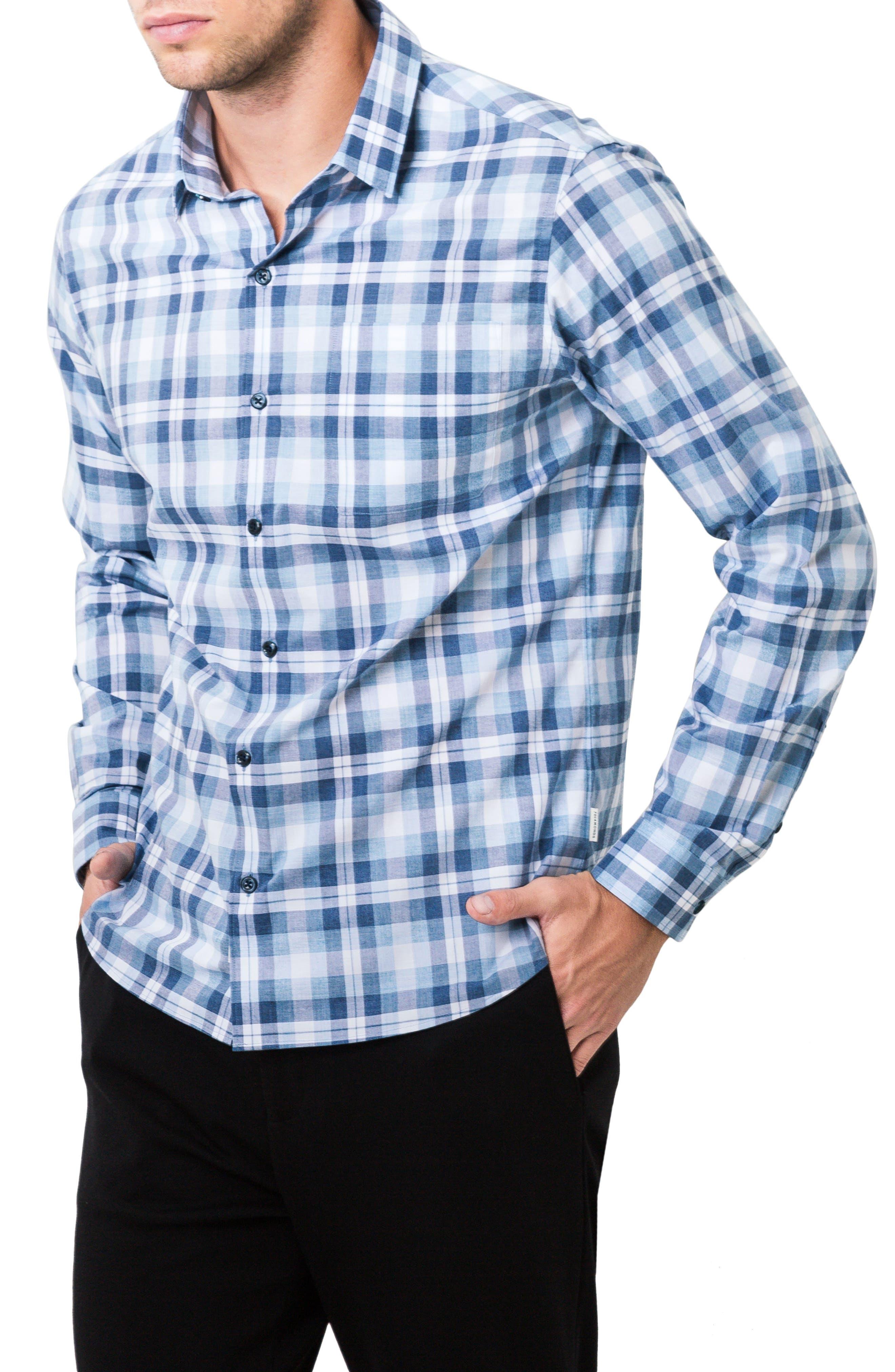 Morning Rain Woven Shirt,                             Alternate thumbnail 3, color,                             Blue