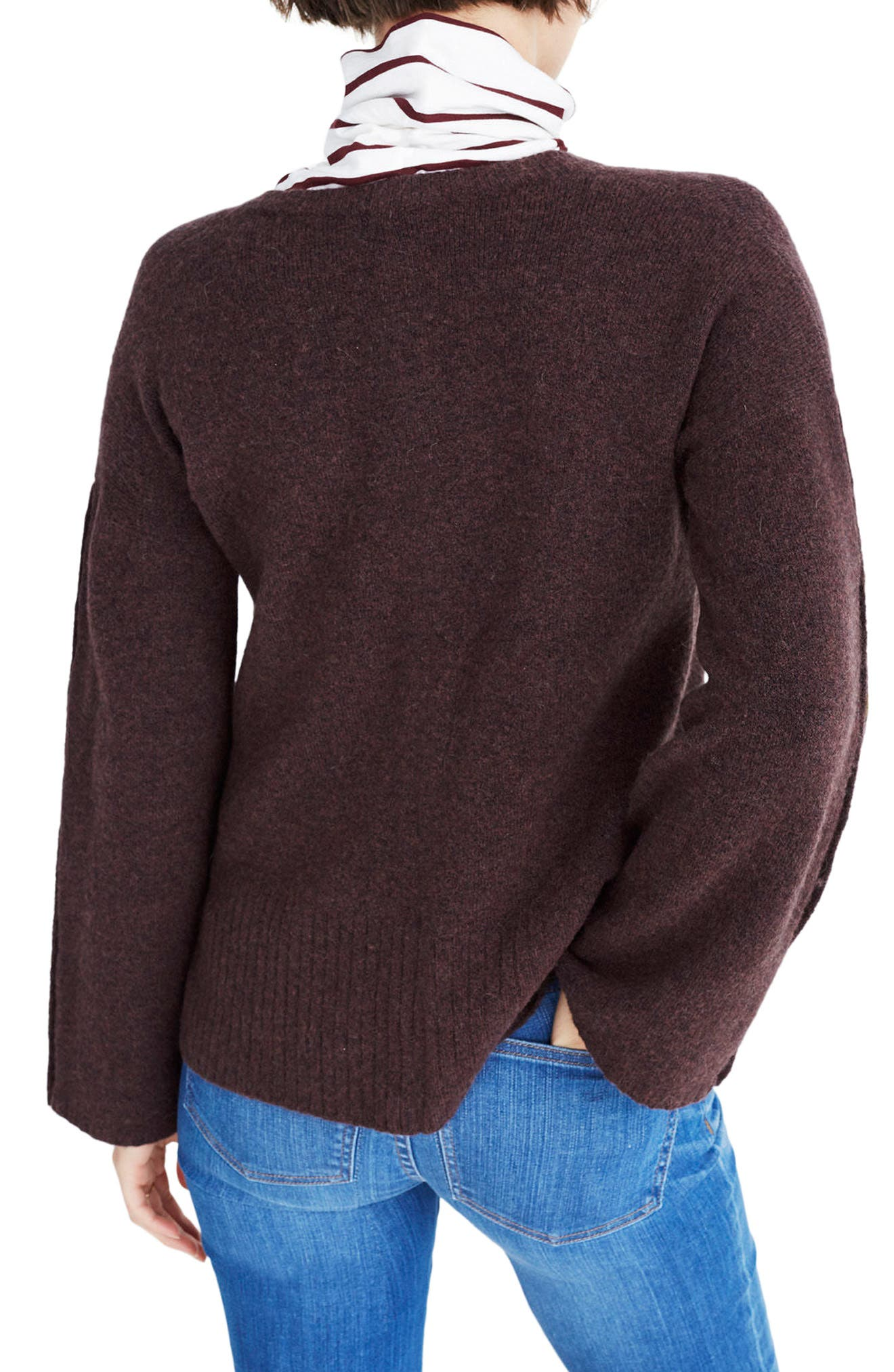 Button Sleeve Pullover Sweater,                             Alternate thumbnail 2, color,                             Heather Coffee