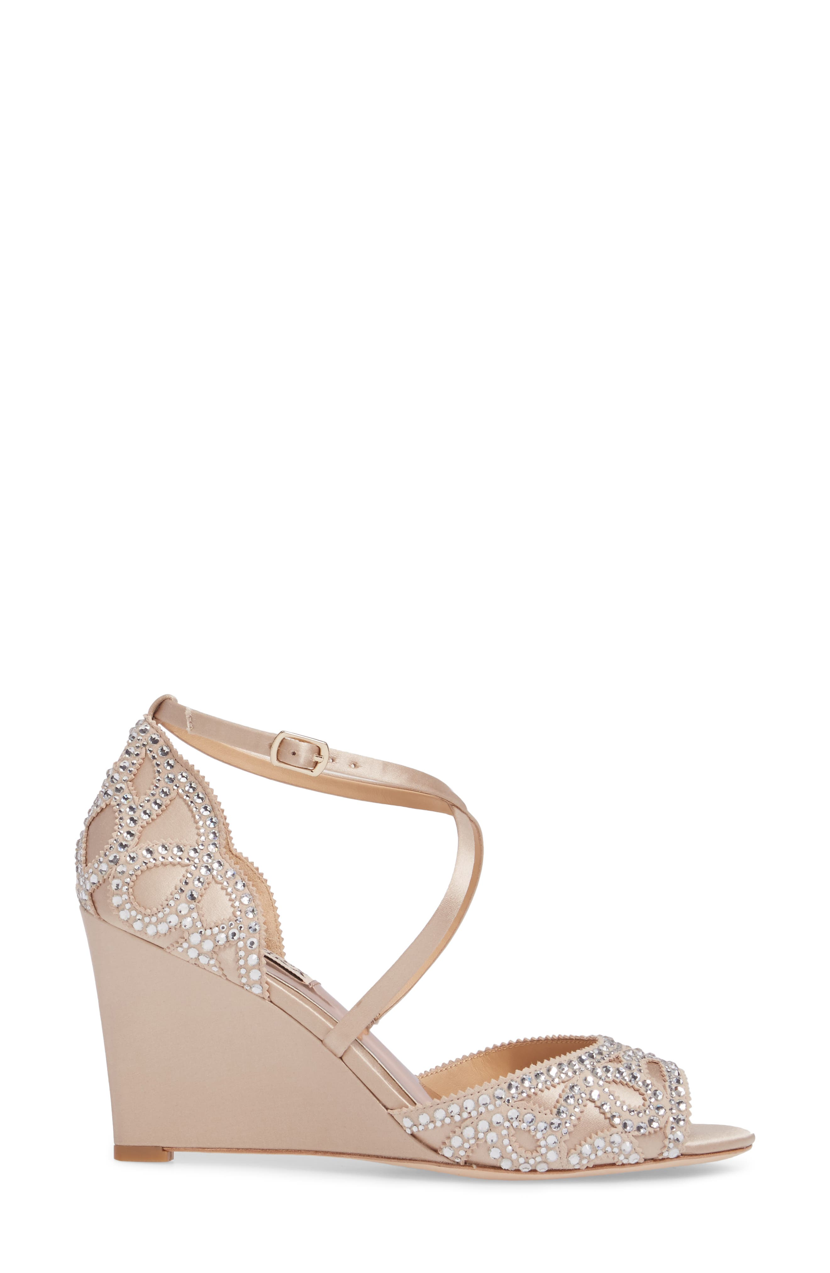 Winter Strappy Wedge Pump,                             Alternate thumbnail 3, color,                             Nude Satin