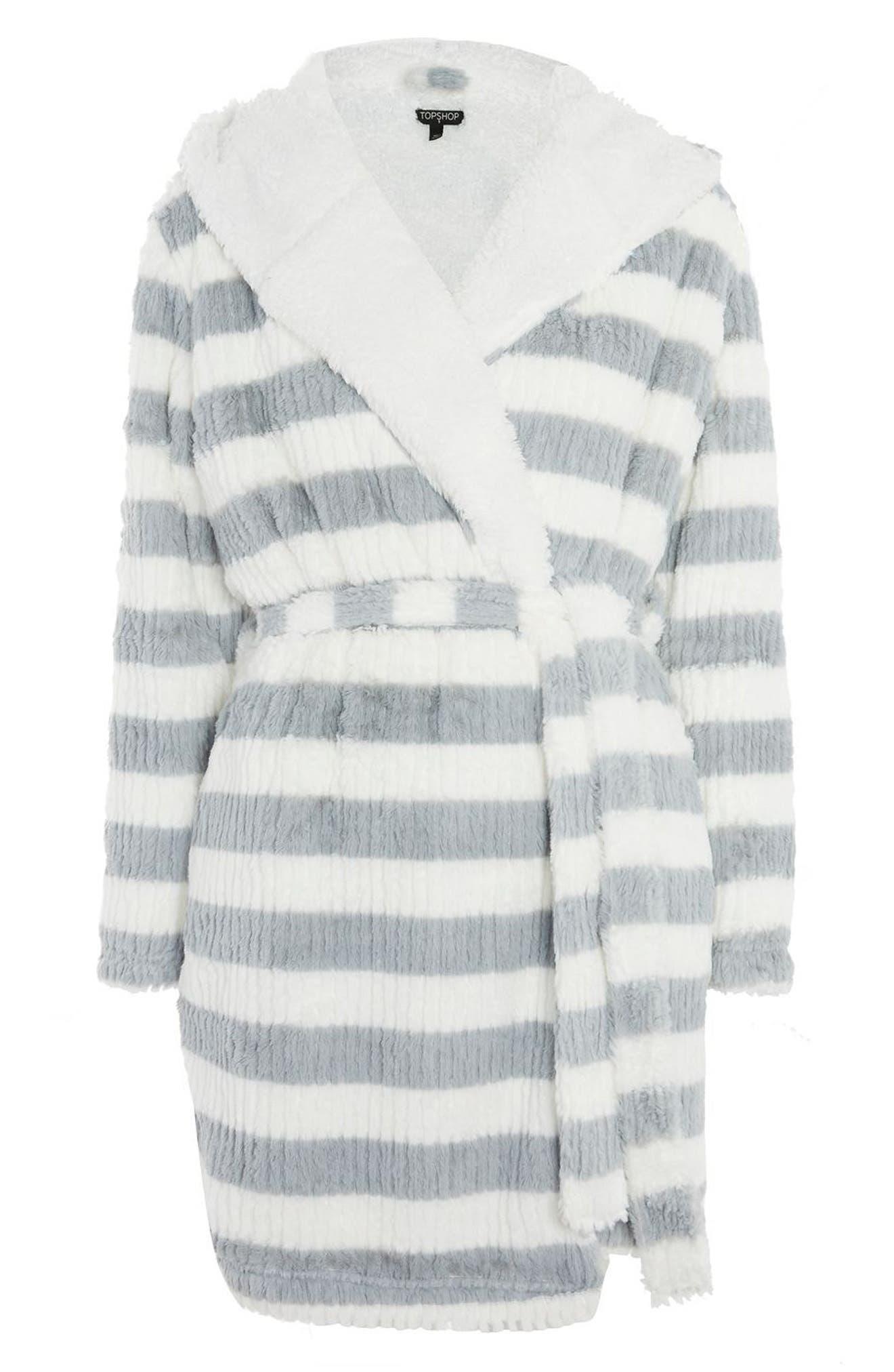 Stripe Short Robe,                             Alternate thumbnail 3, color,                             Grey Multi
