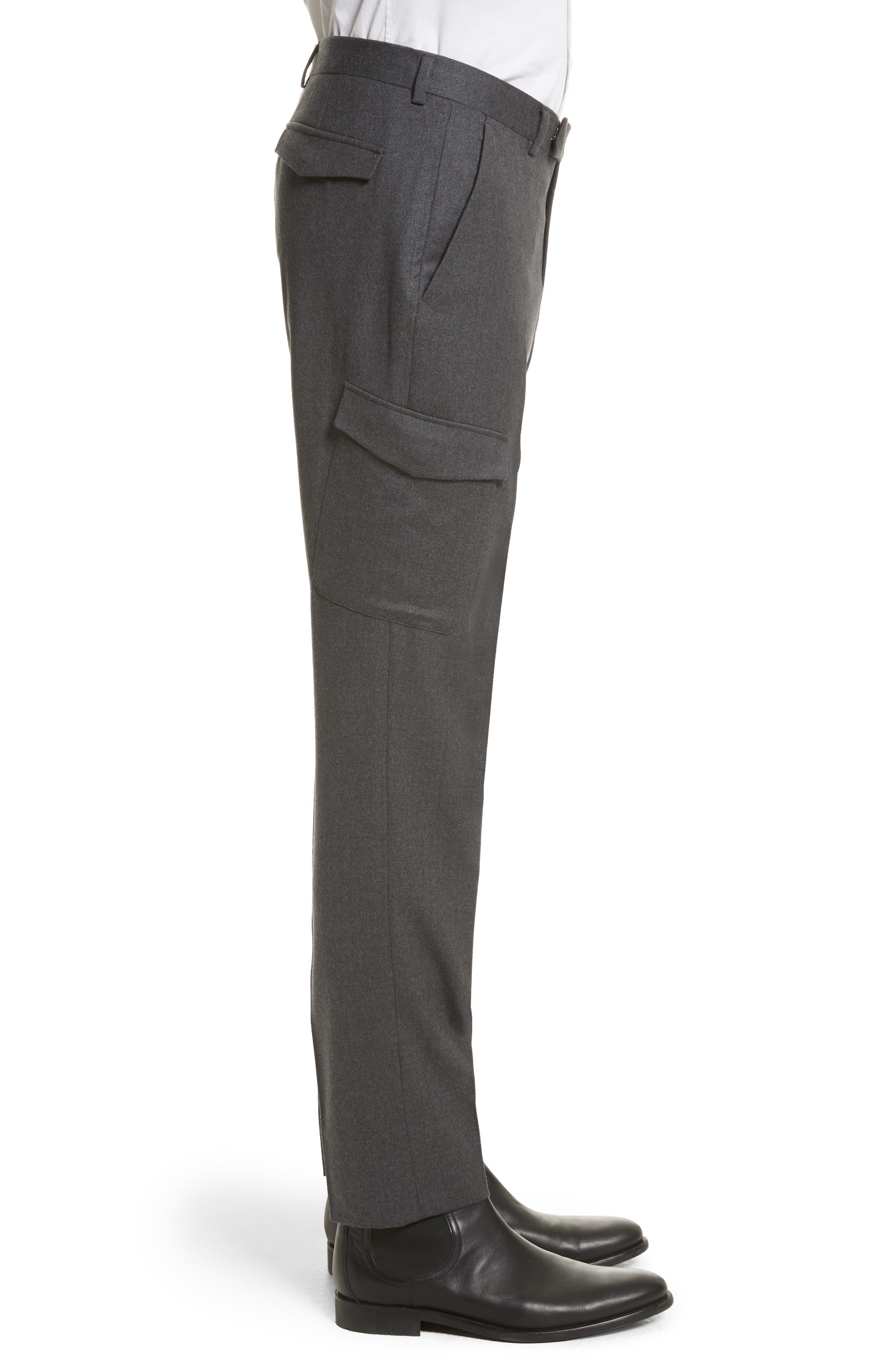Regular Fit Wool Cargo Trousers,                             Alternate thumbnail 3, color,                             Dark Grey Solid