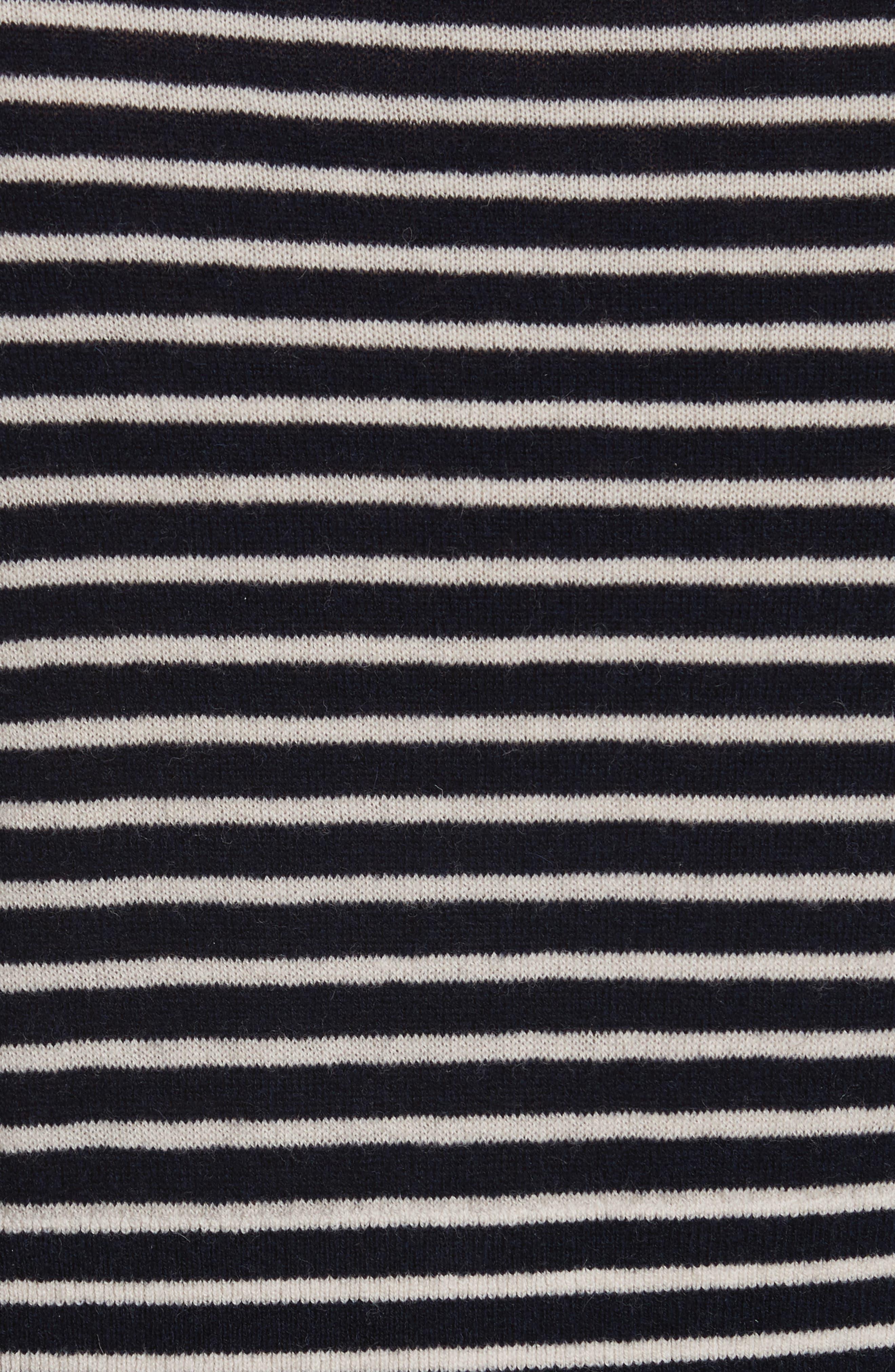 Stripe Stretch Wool Turtleneck,                             Alternate thumbnail 5, color,                             Navy/ Sand