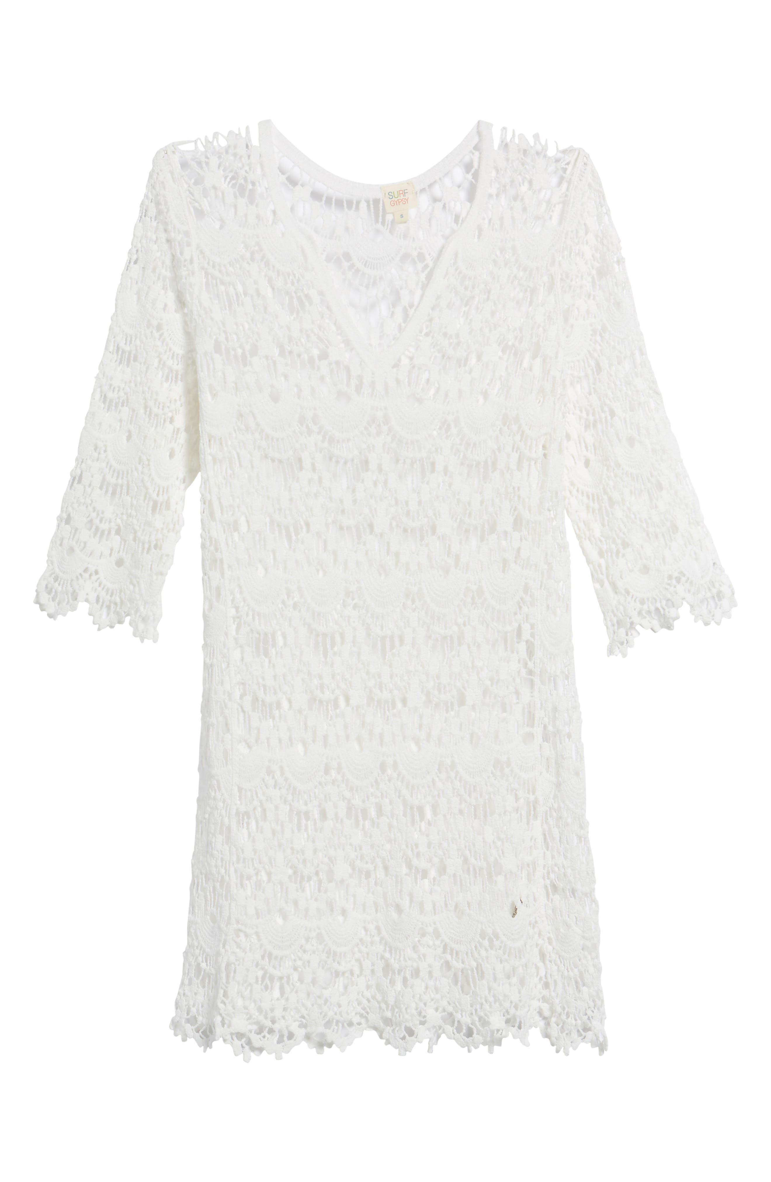 Crochet Cover-Up Tunic,                             Alternate thumbnail 6, color,                             White