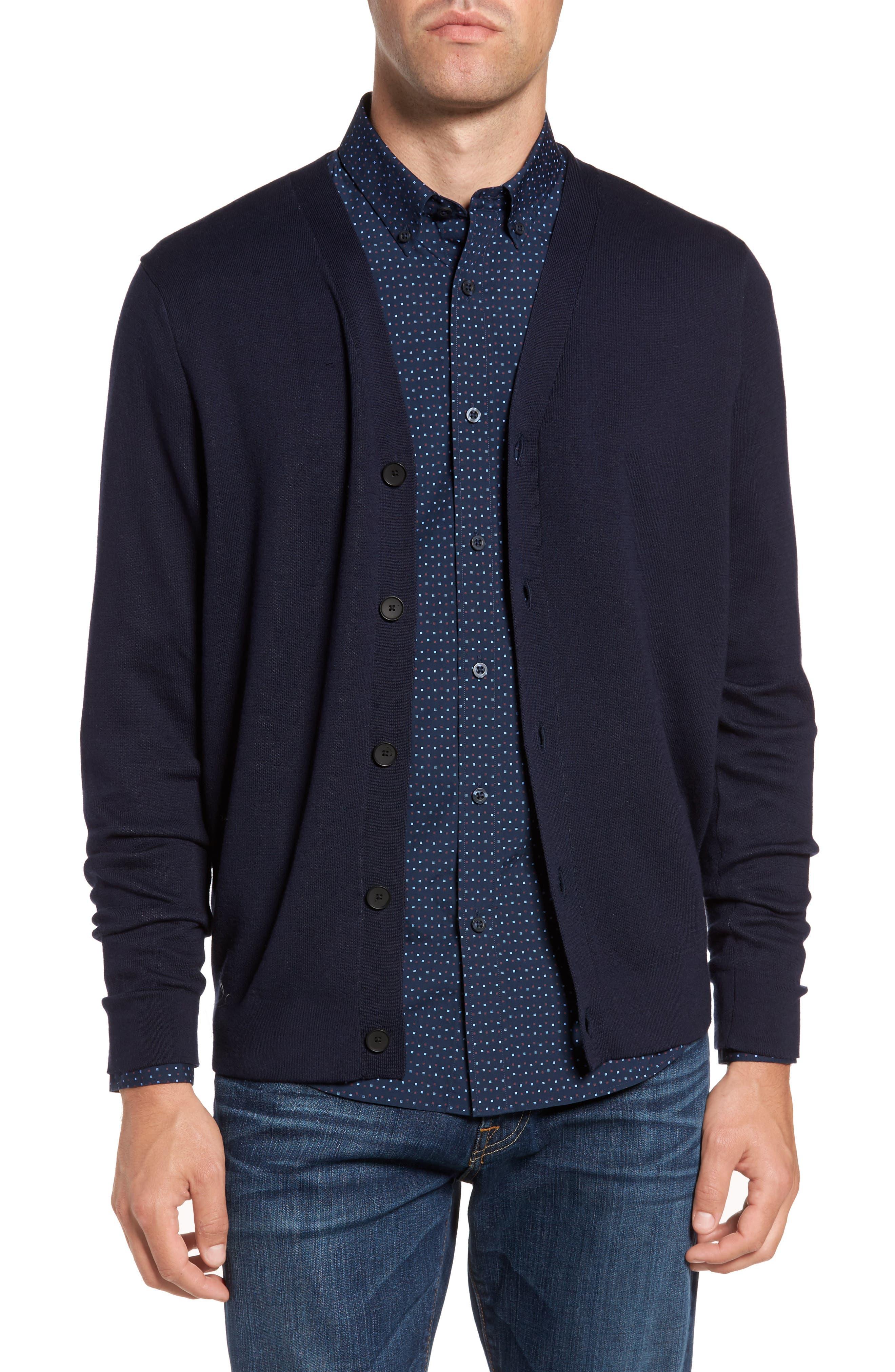 Main Image - Nordstrom Men's Shop Pima Cotton Blend Cardigan