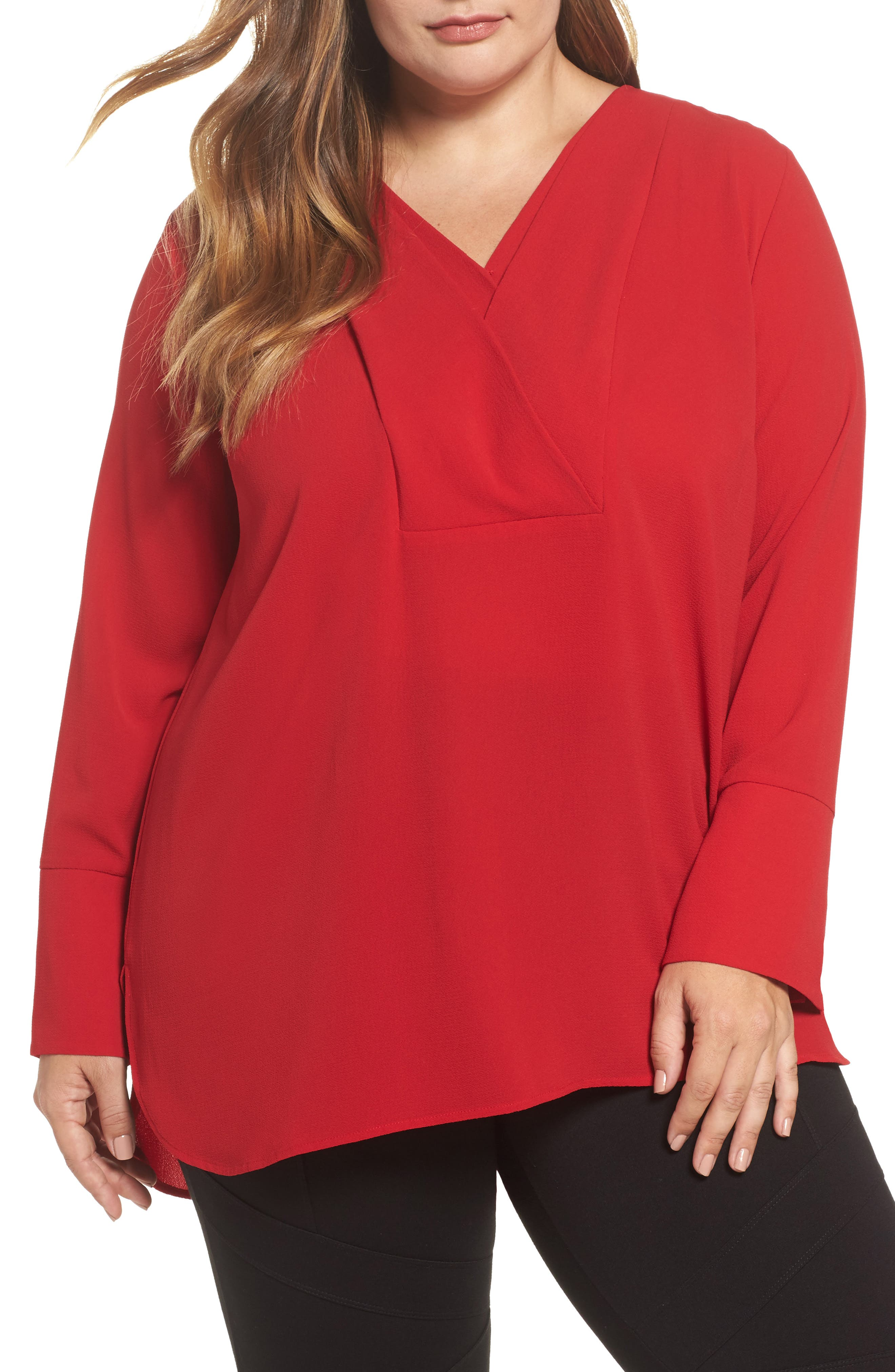Alternate Image 1 Selected - Vince Camuto Double V-Neck Blouse (Plus Size)