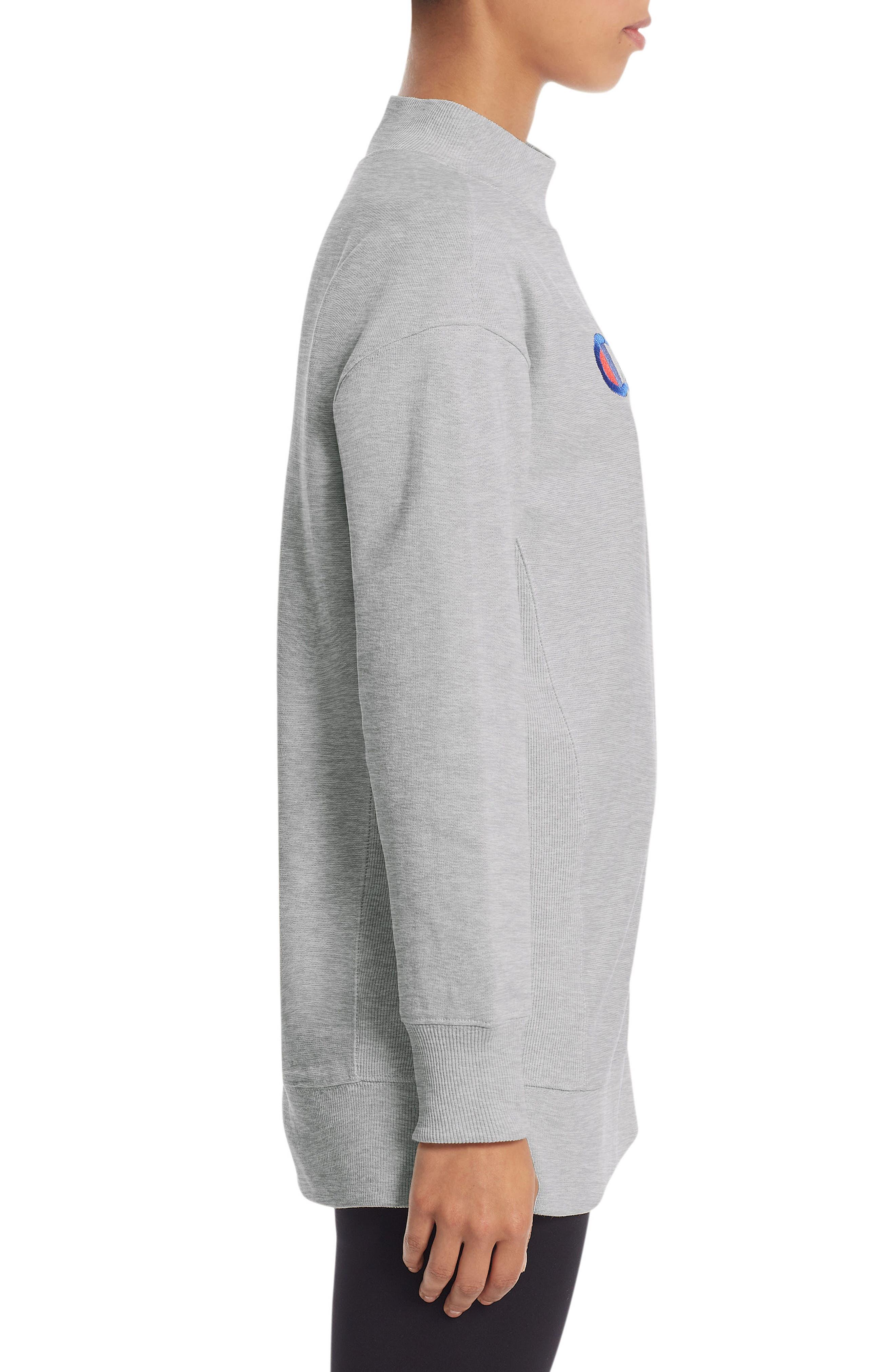 Reverse Weave<sup>®</sup> High Neck Sweatshirt,                             Alternate thumbnail 3, color,                             Oxford Grey