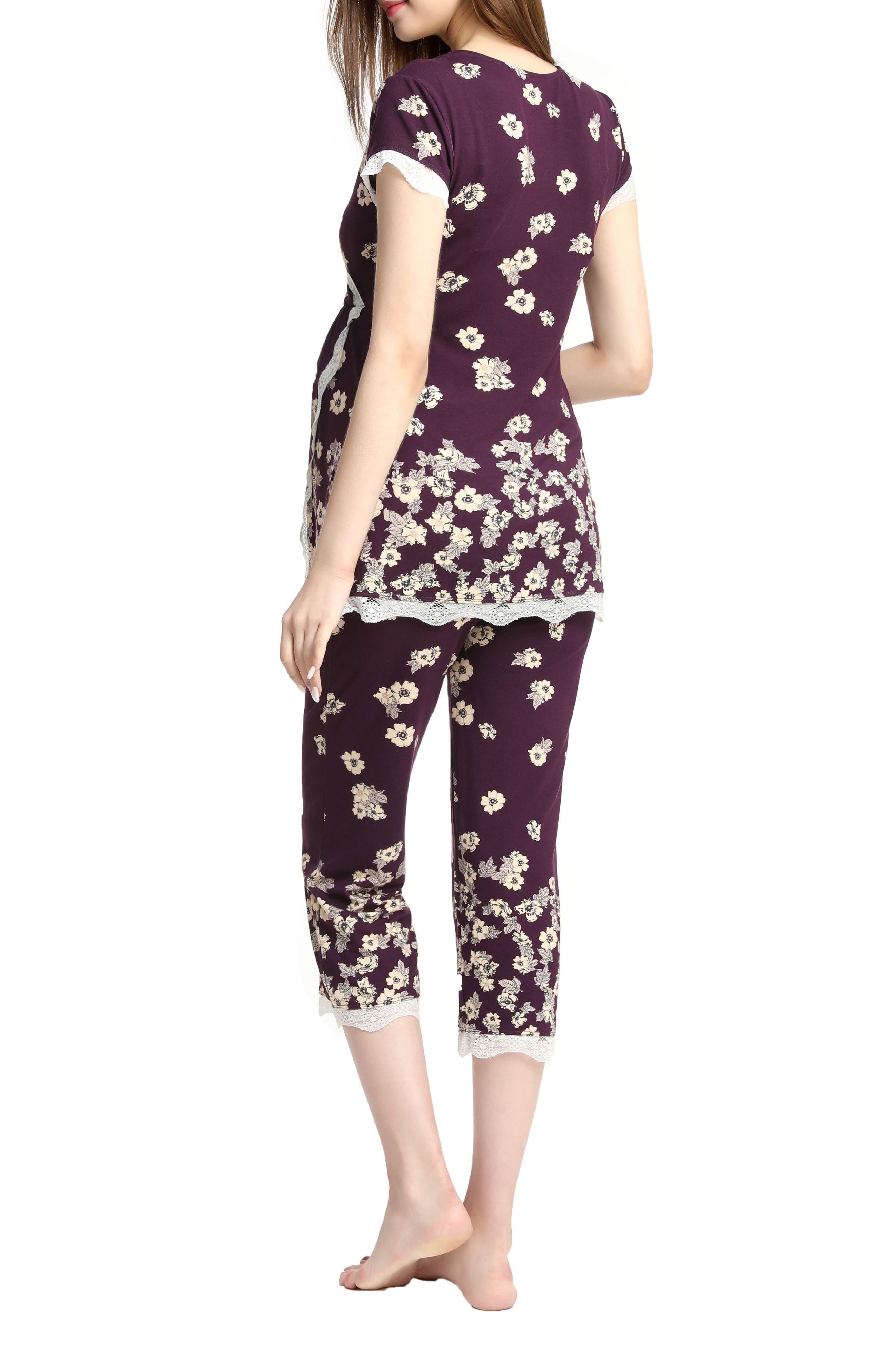 Kimi & Kai Addison Nursing/Maternity Pajamas,                             Alternate thumbnail 2, color,                             Eggplant