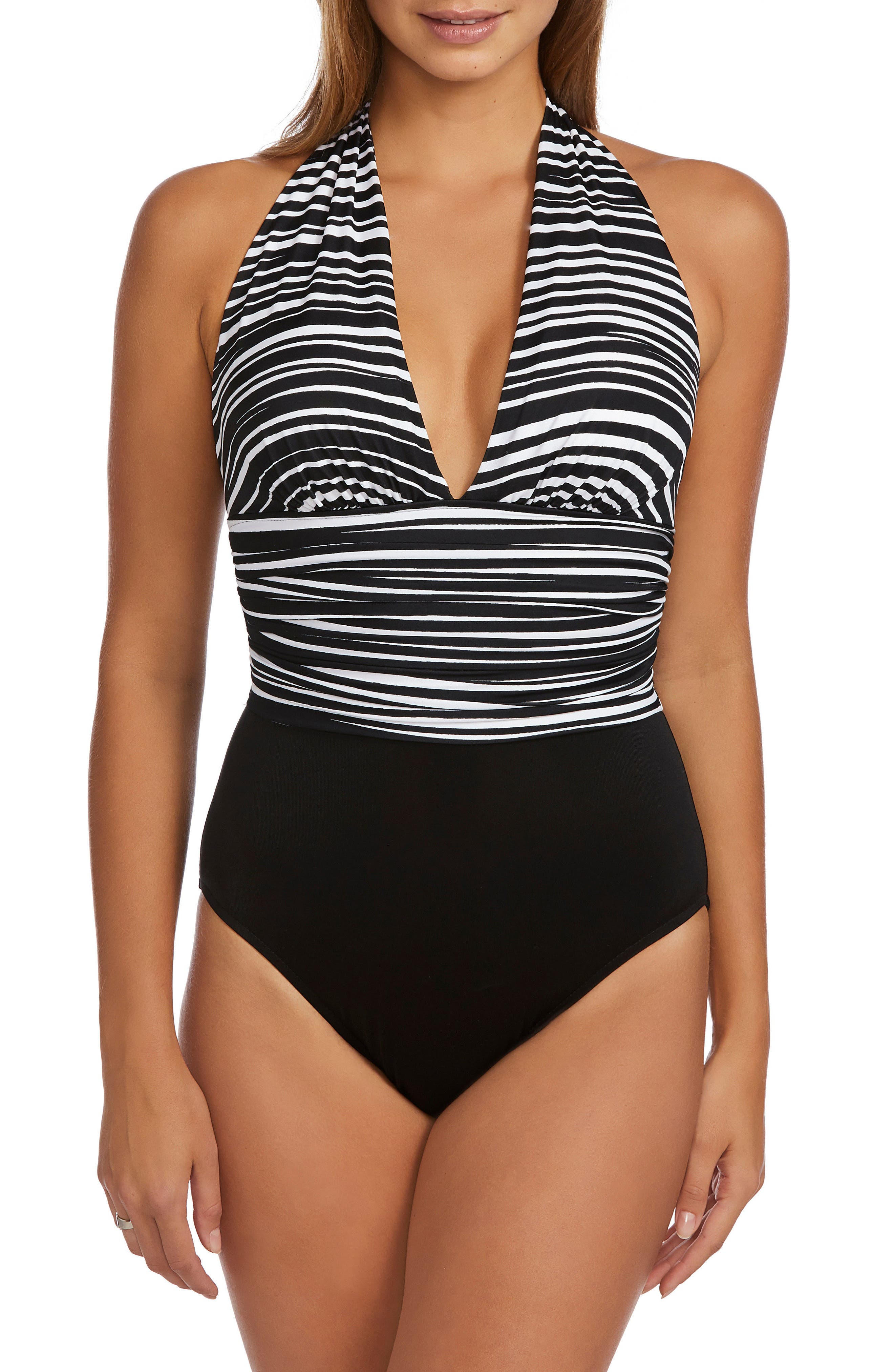 Yves Clean Lines One-Piece Swimsuit,                             Main thumbnail 1, color,                             Black/ White
