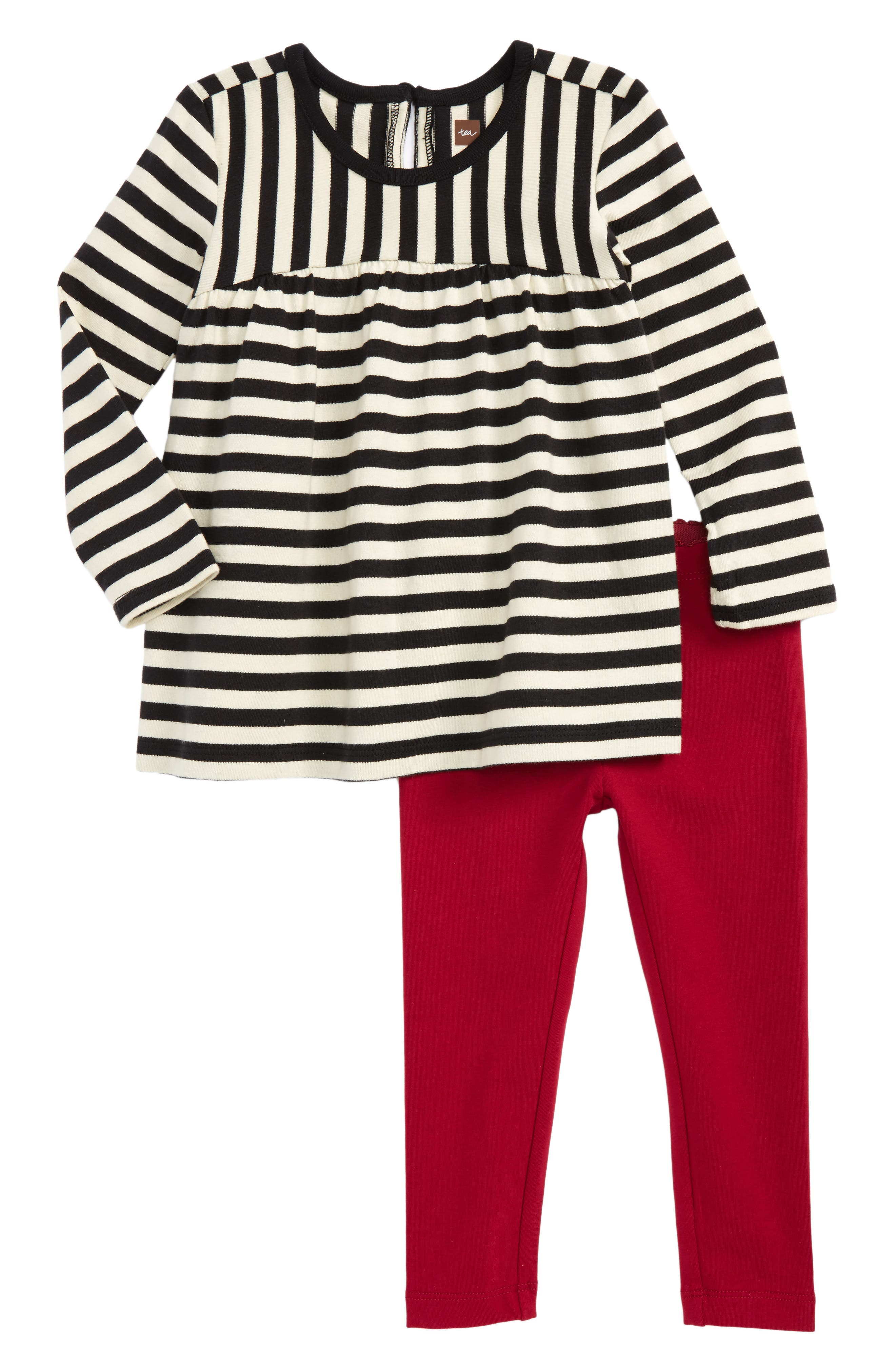 Jura Stripe Top & Leggings Set,                         Main,                         color, Jet Black