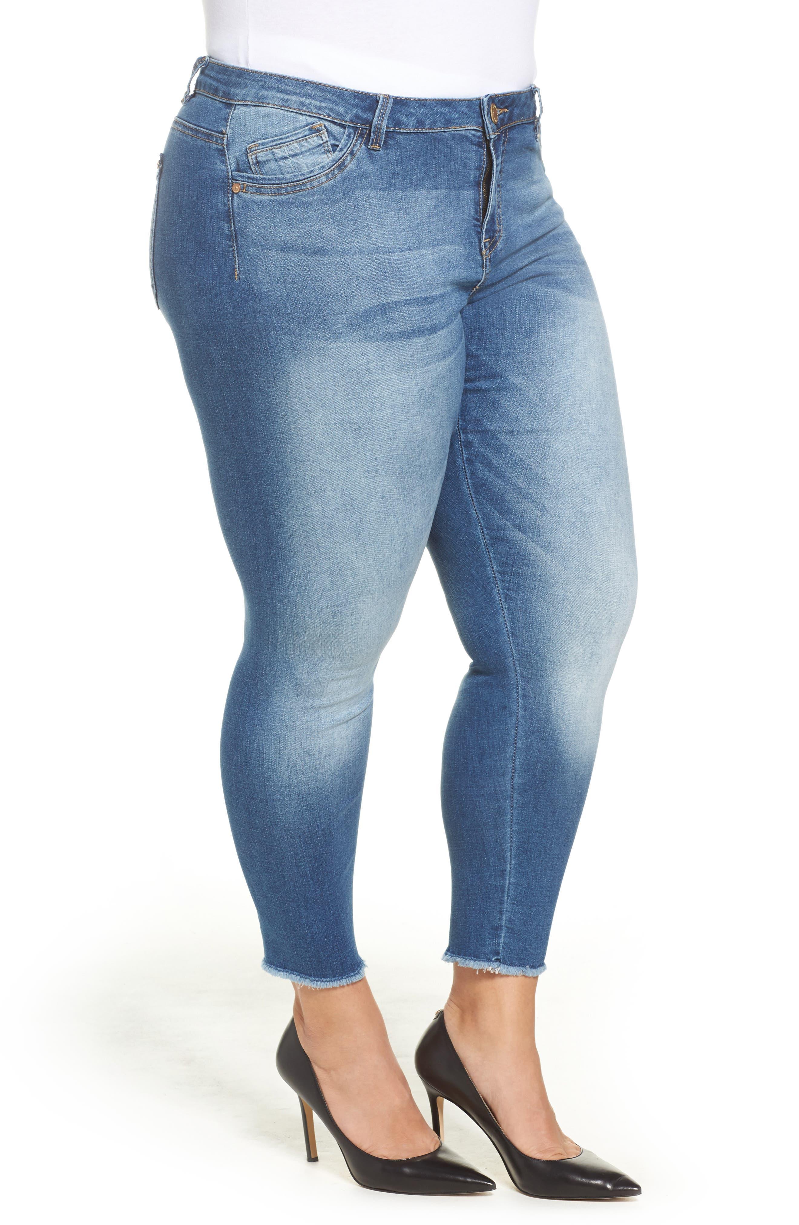 Alternate Image 3  - Wit & Wisdom Frayed Hem Skinny Jeans (Plus Size) (Nordstrom Exclusive)