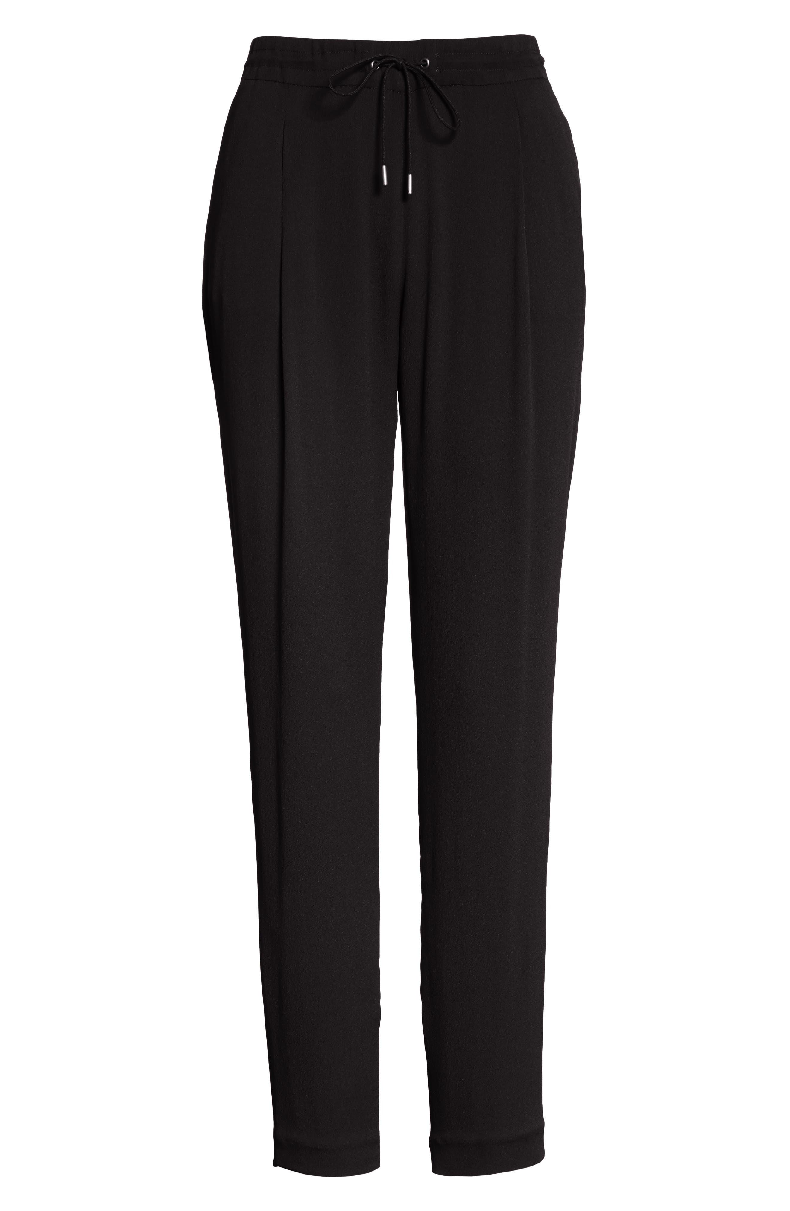 Crop Drawstring Pants,                             Alternate thumbnail 6, color,                             Black