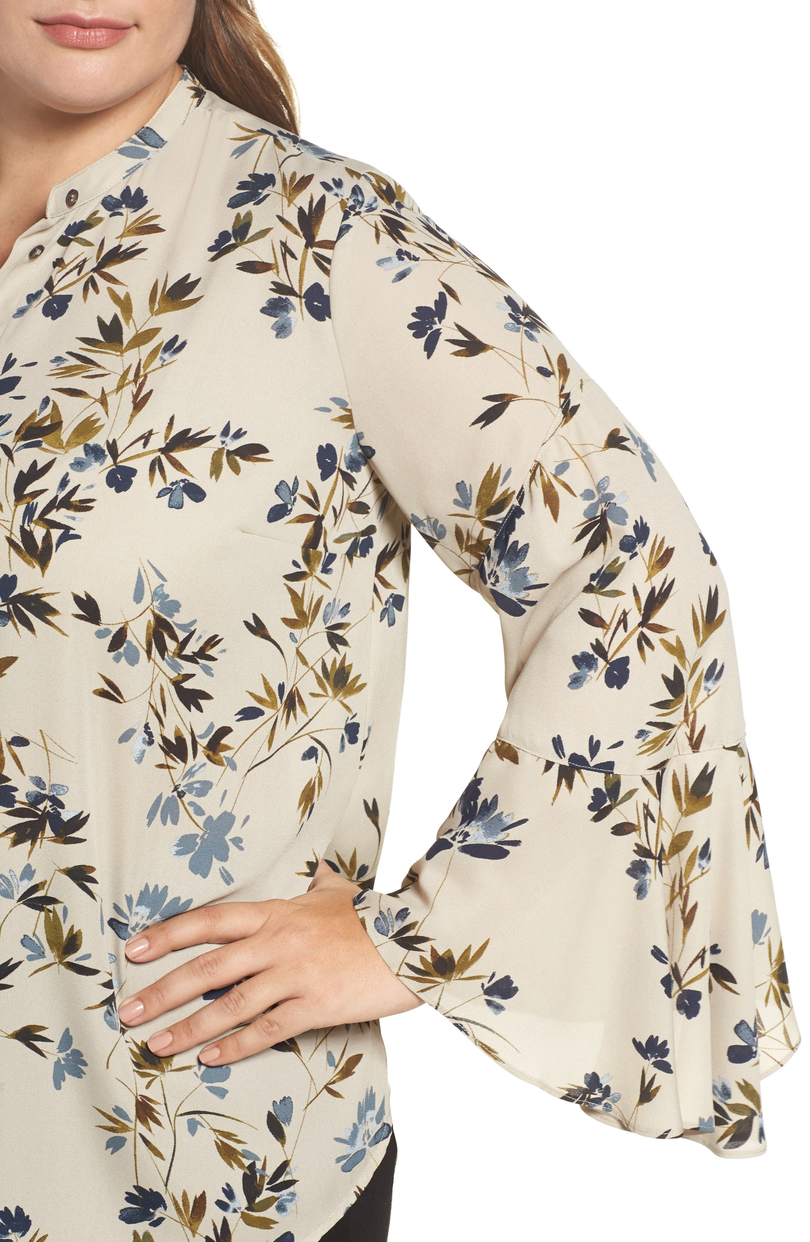 Alternate Image 4  - Vince Camuto Timeless Bouquet Bell Sleeve Blouse (Plus Size)