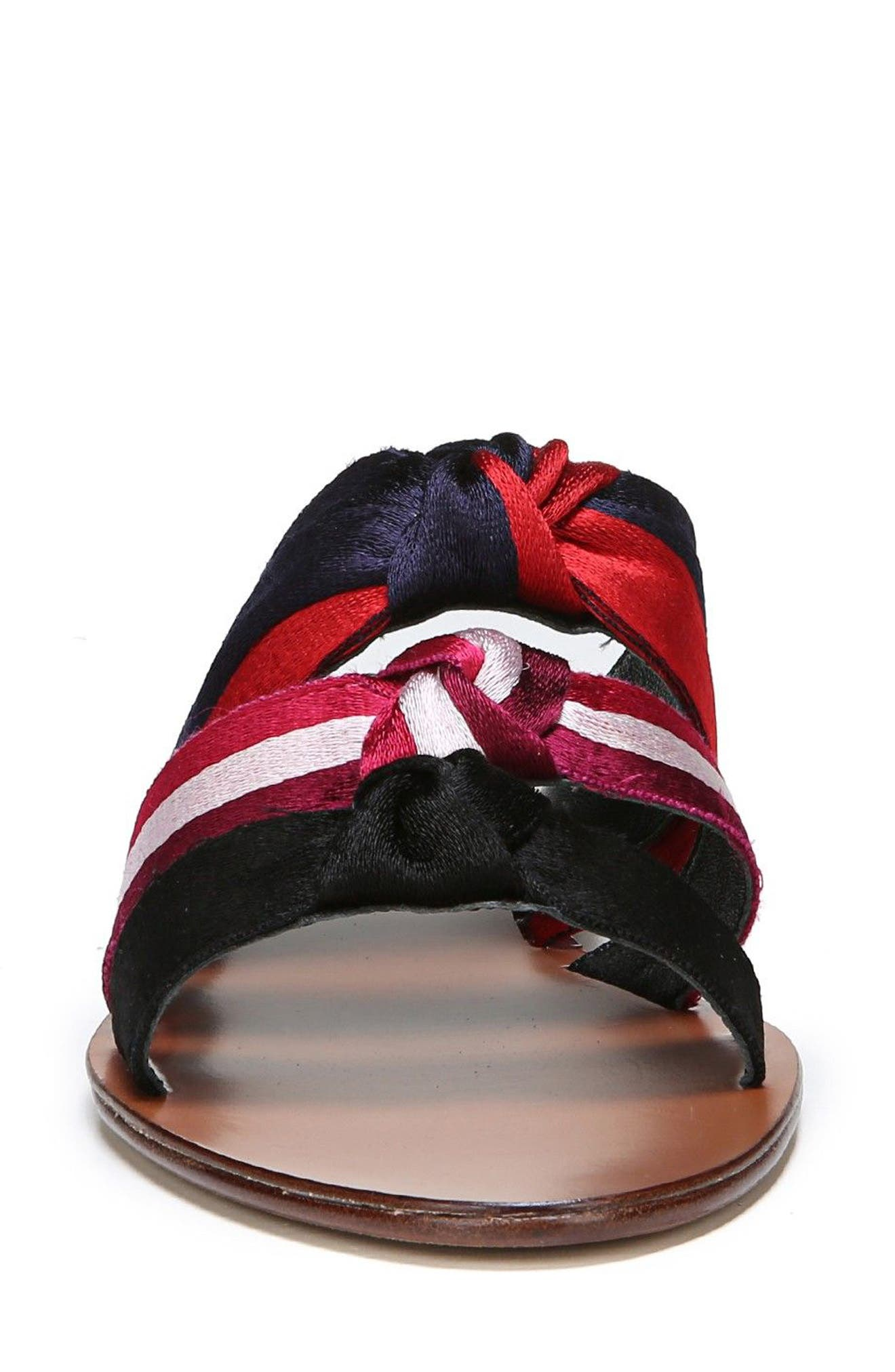 Bree Strappy Slide Sandal,                             Alternate thumbnail 4, color,                             Black/ Lipstick/ Navy