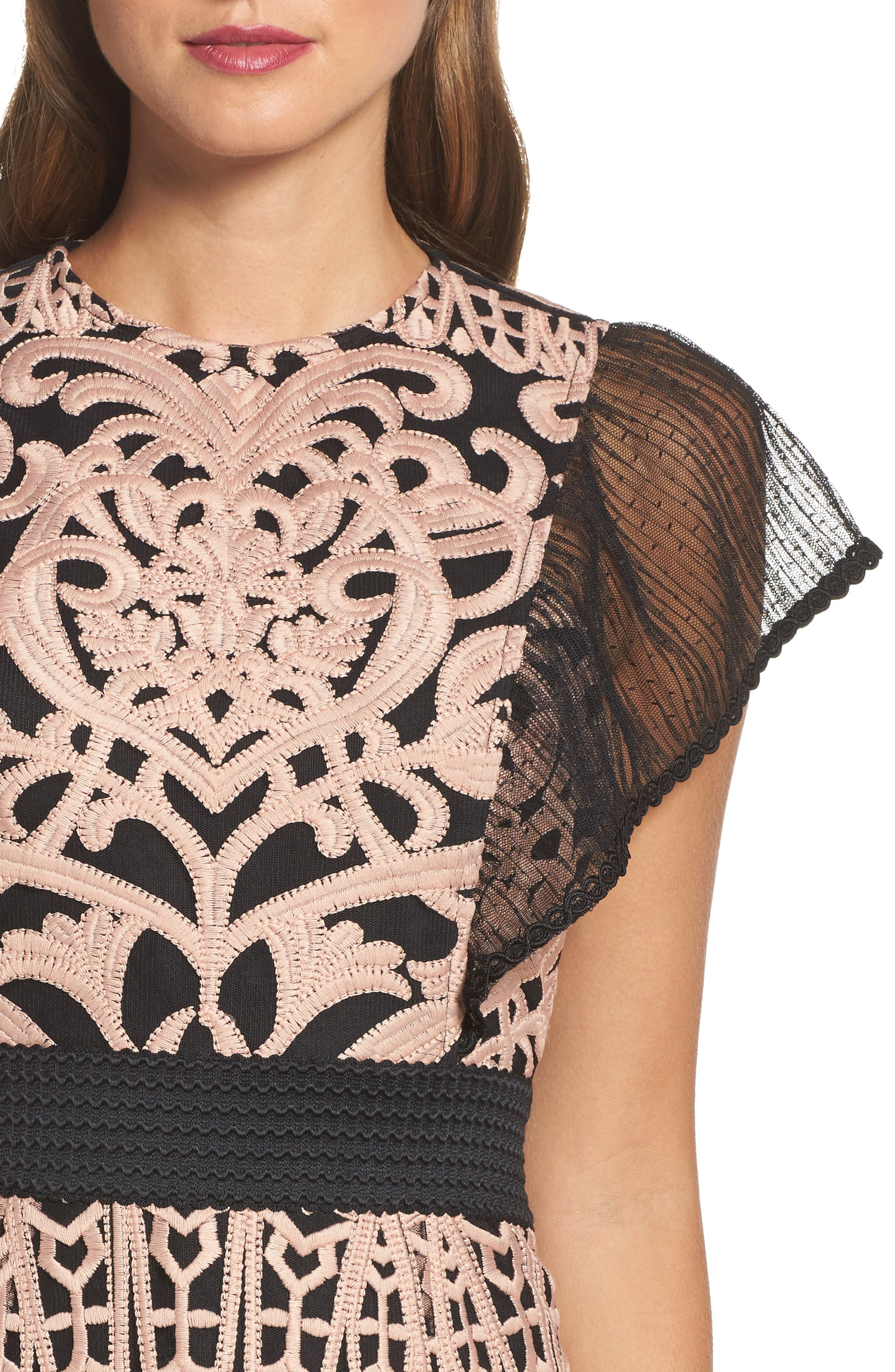 Rosabel Embroidered Midi Sheath Dress,                             Alternate thumbnail 4, color,                             Pink