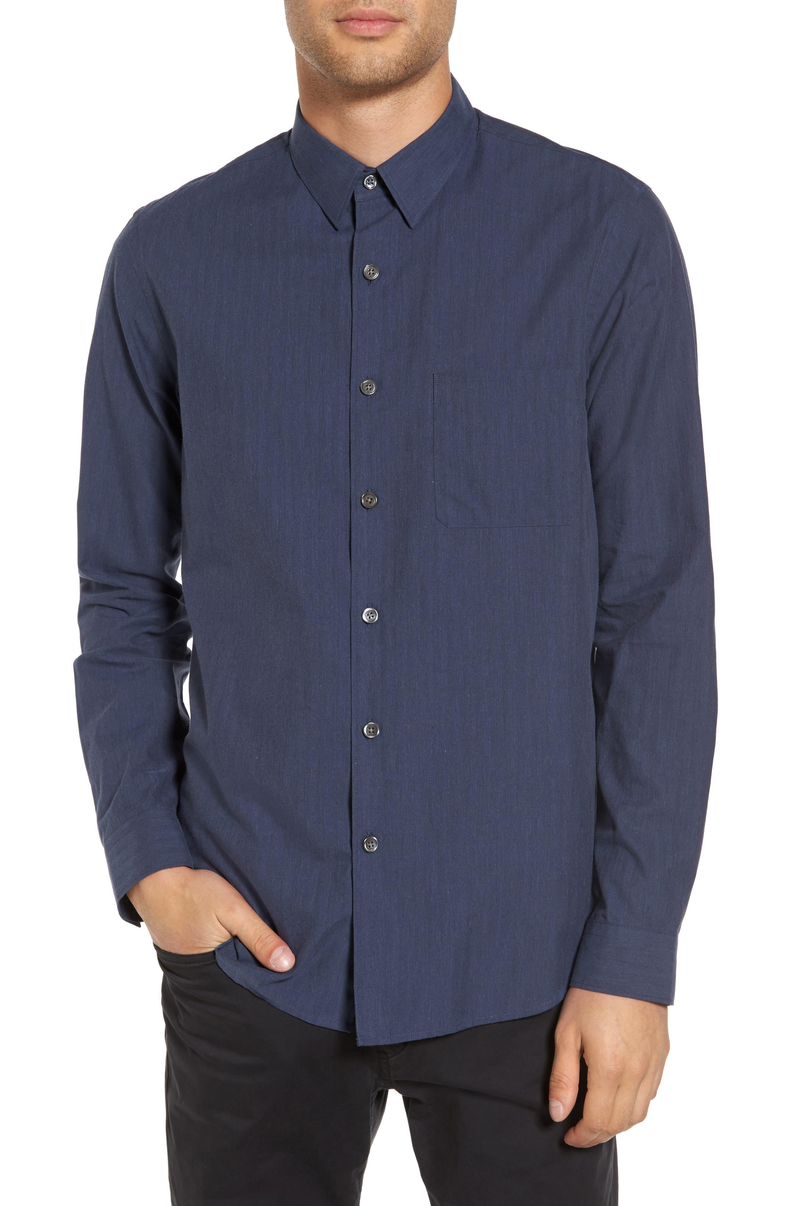 Rammy Trim Fit Solid Sport Shirt,                         Main,                         color, River