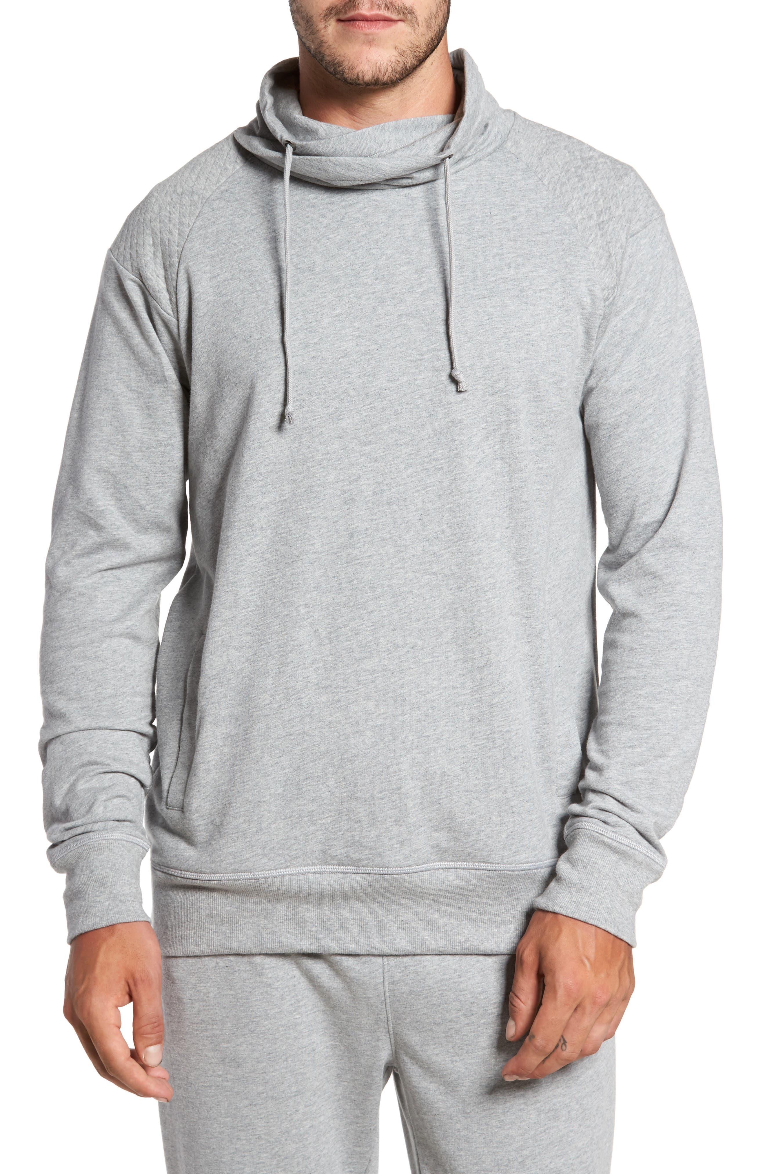 Quilted Funnel Neck Pullover,                             Main thumbnail 1, color,                             Grey Heather