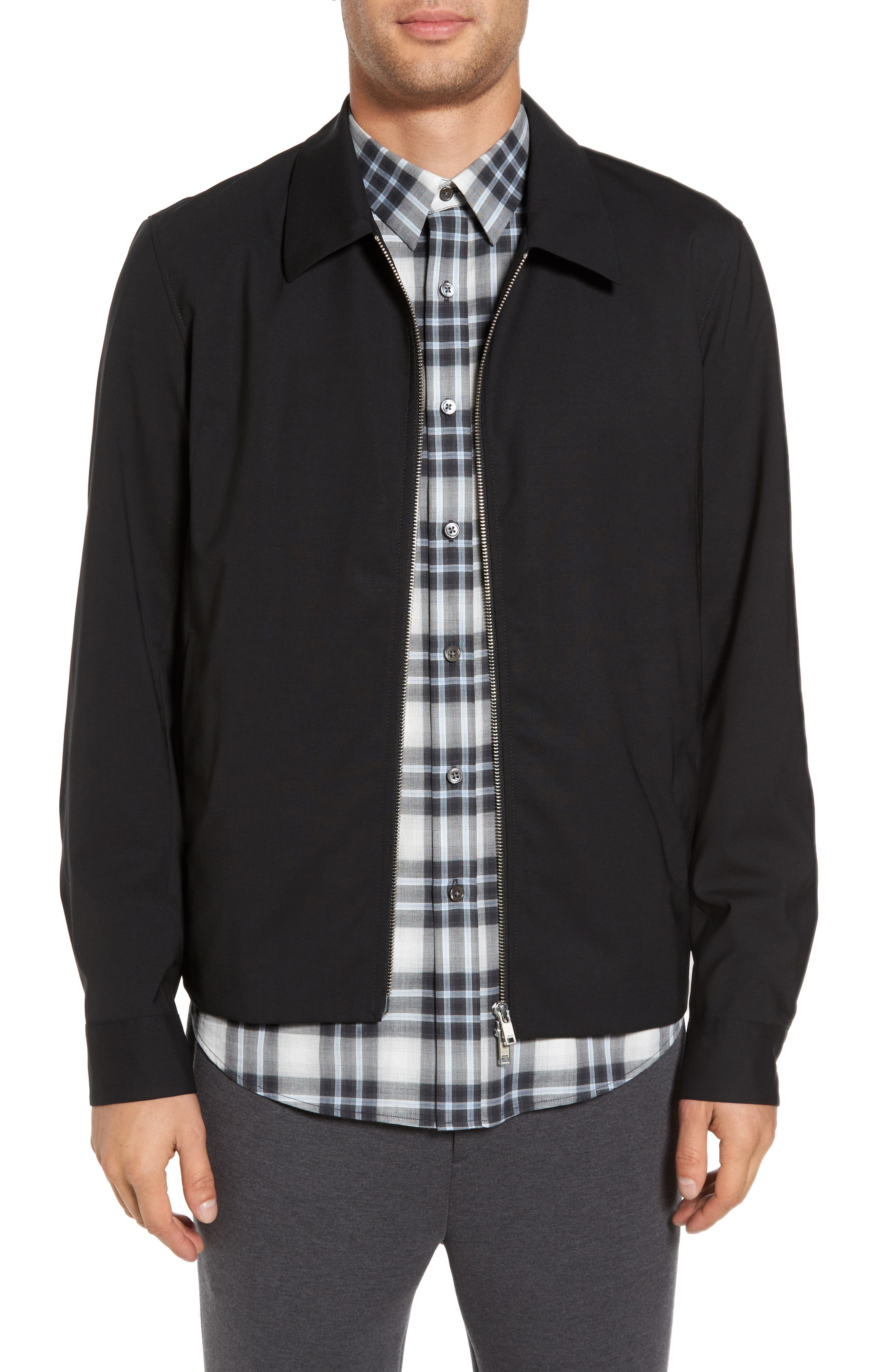 Stretch Wool Zip Front Jacket,                         Main,                         color, Black
