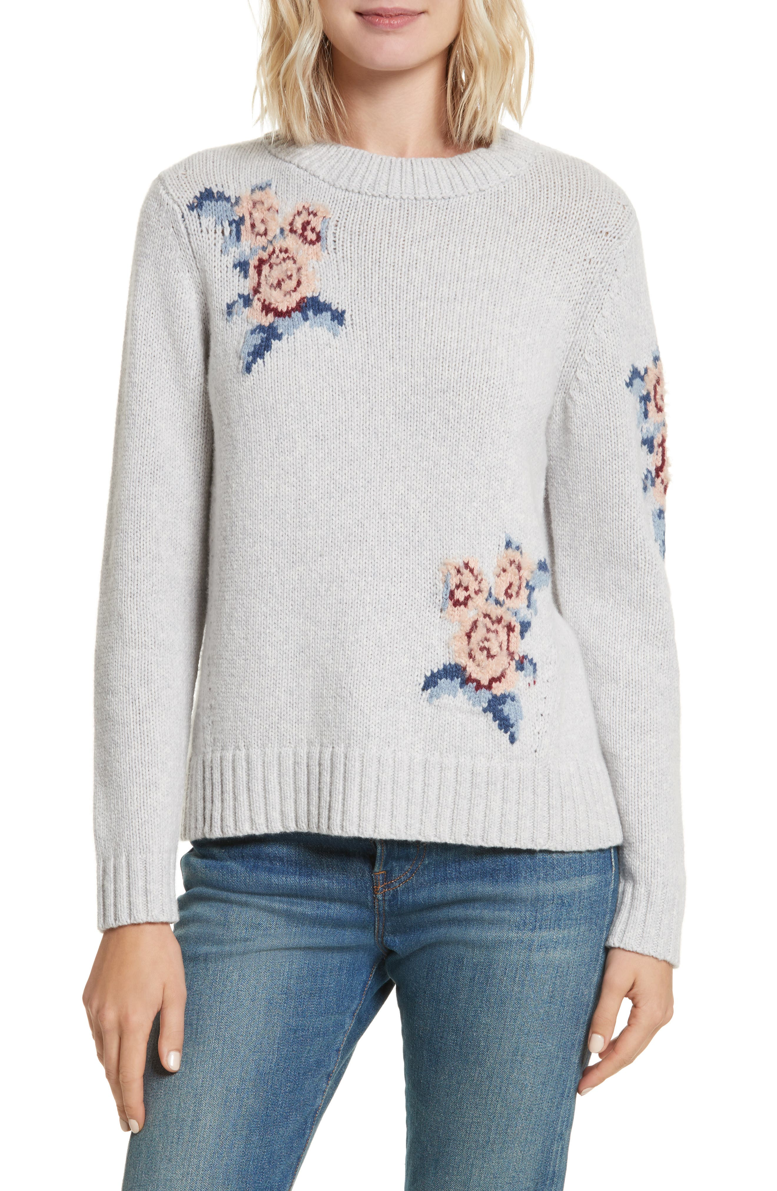 Floral Intarsia Pullover,                         Main,                         color, Light Heather Grey Combo