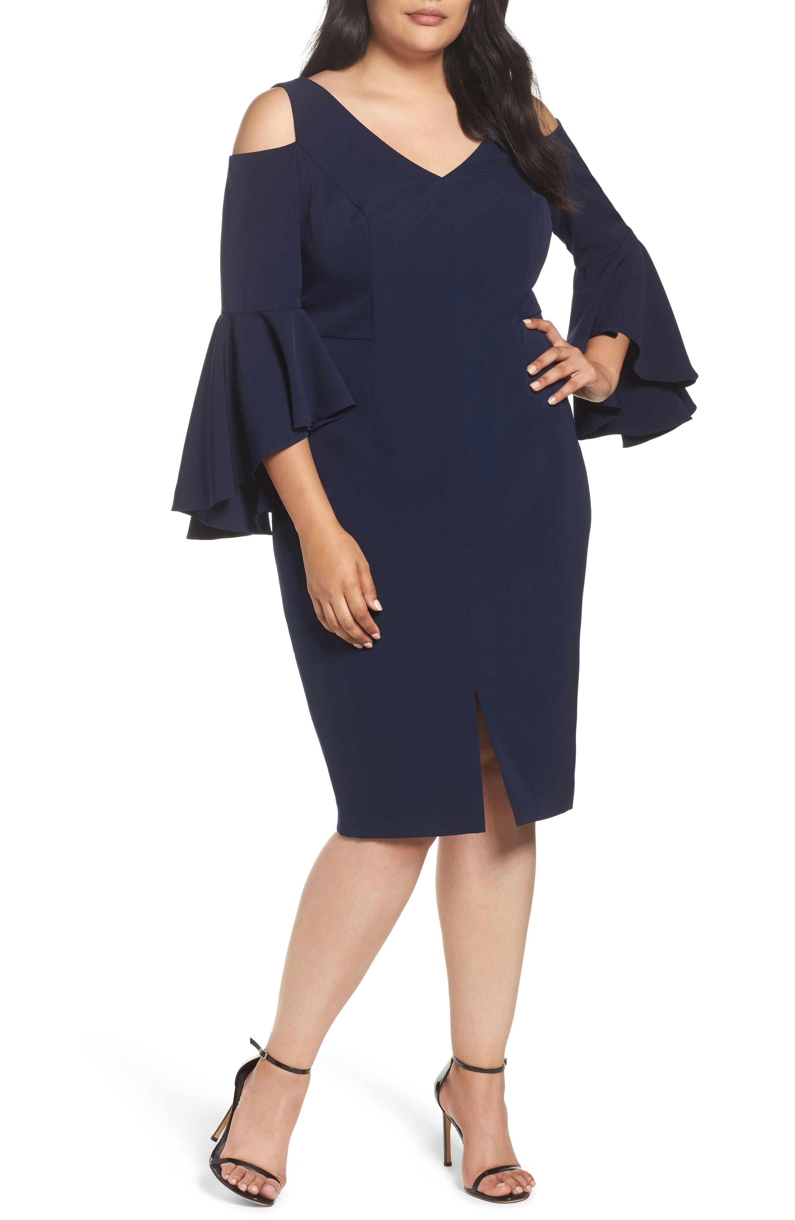 Cold Shoulder Sheath Dress,                         Main,                         color, Patriot Blue
