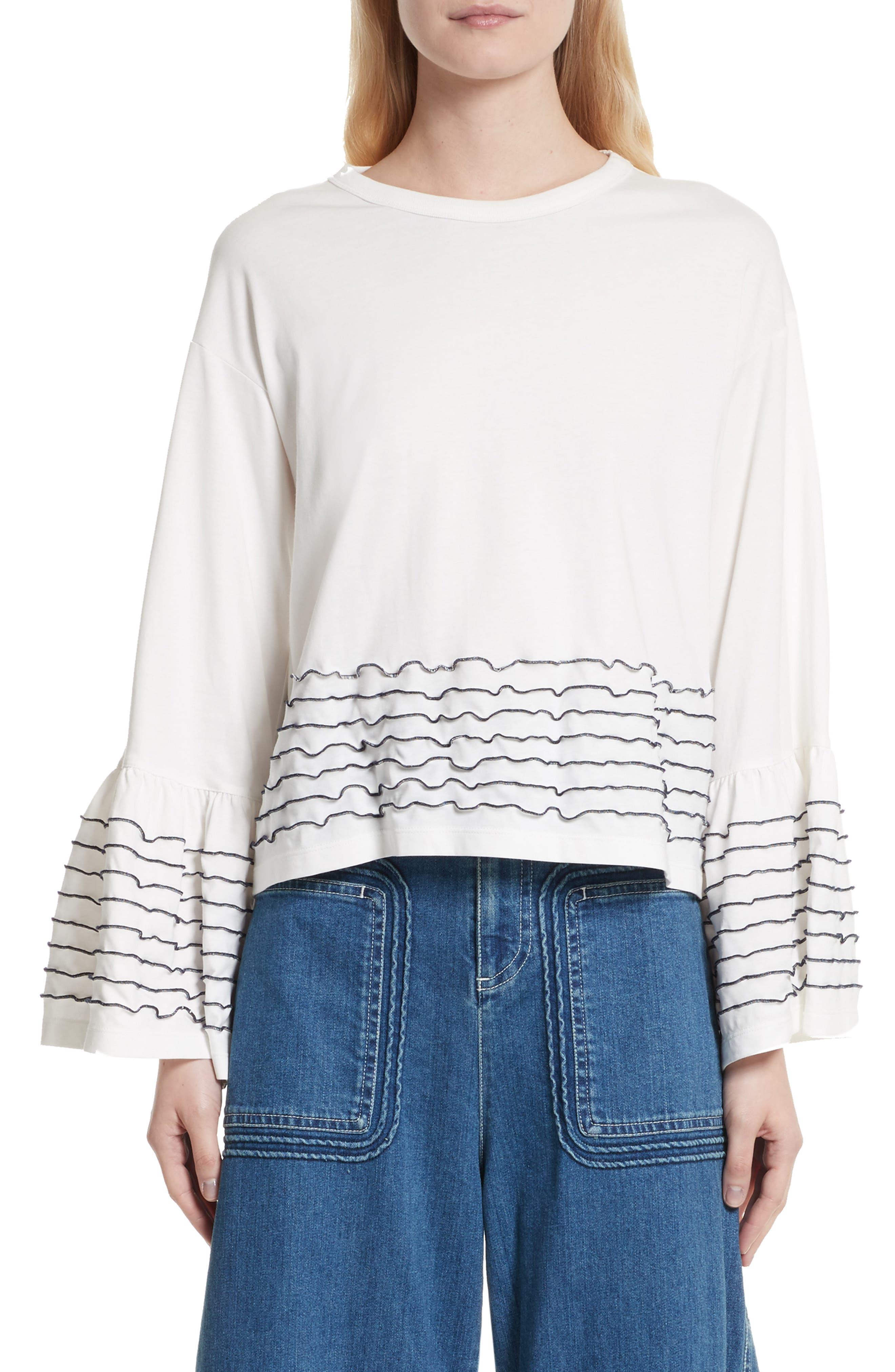 Stitched Cotton Top,                         Main,                         color, Snow White