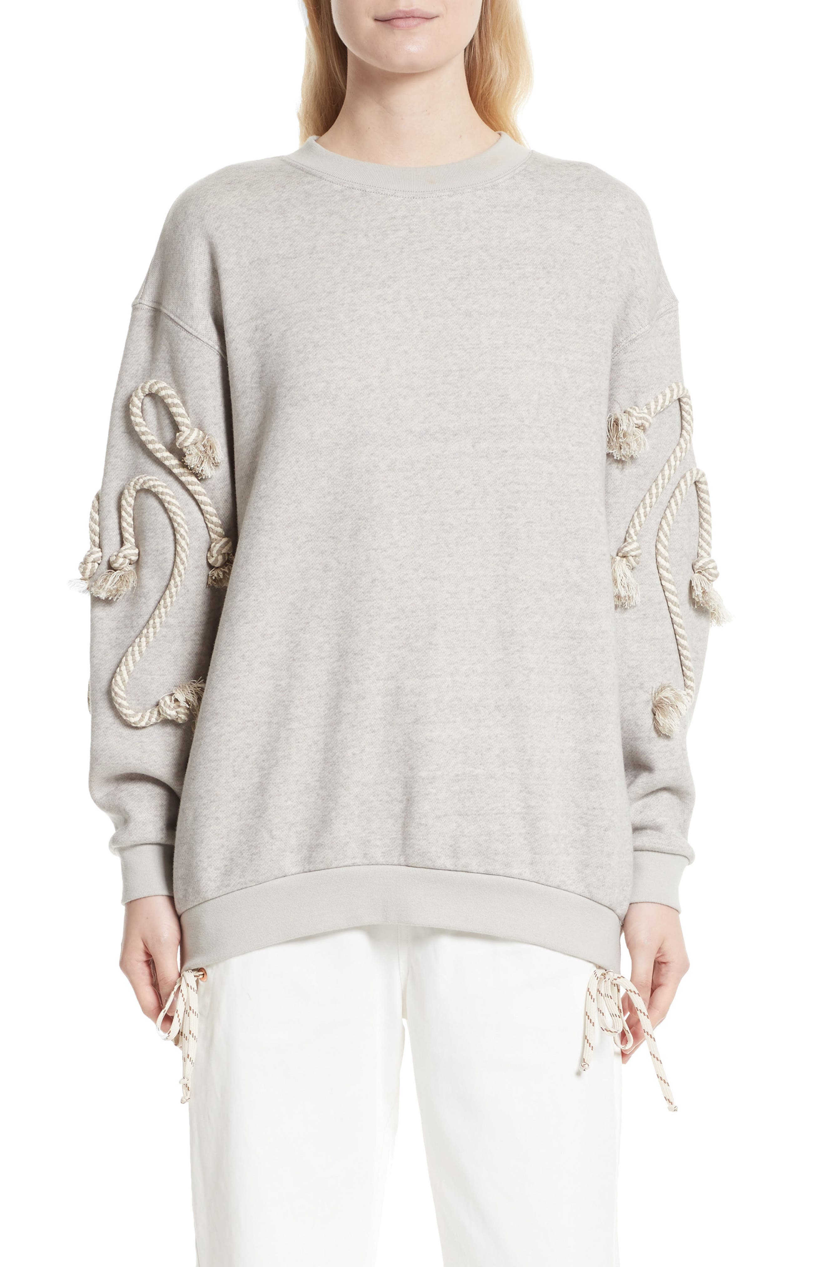 Rope Trim Sweater,                         Main,                         color, Drizzle Grey