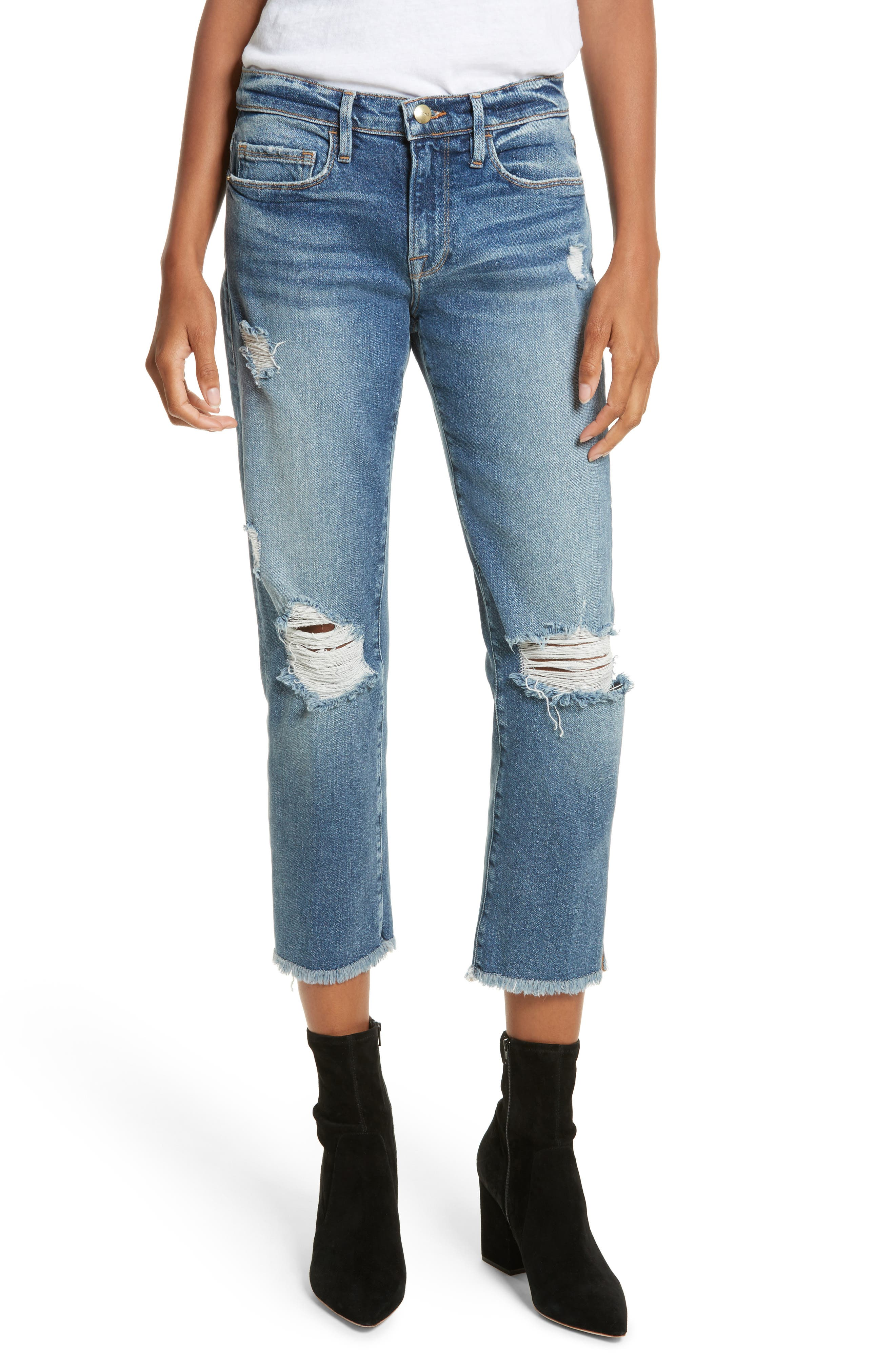 Nouveau Le Straight Raw Hem Jeans,                             Main thumbnail 1, color,                             Sackett