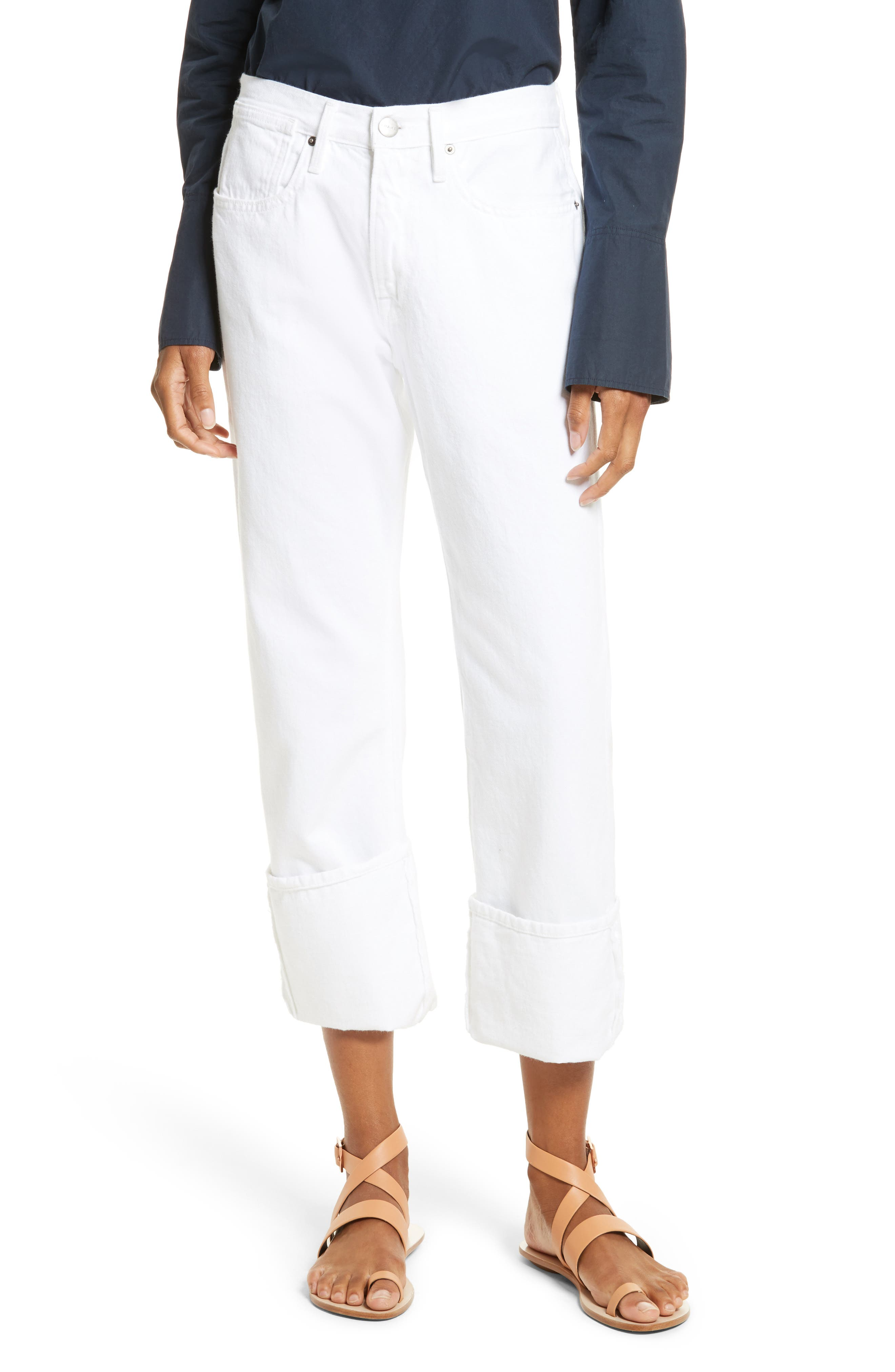 FRAME Le Oversized Cuffed Jeans (Blanc)