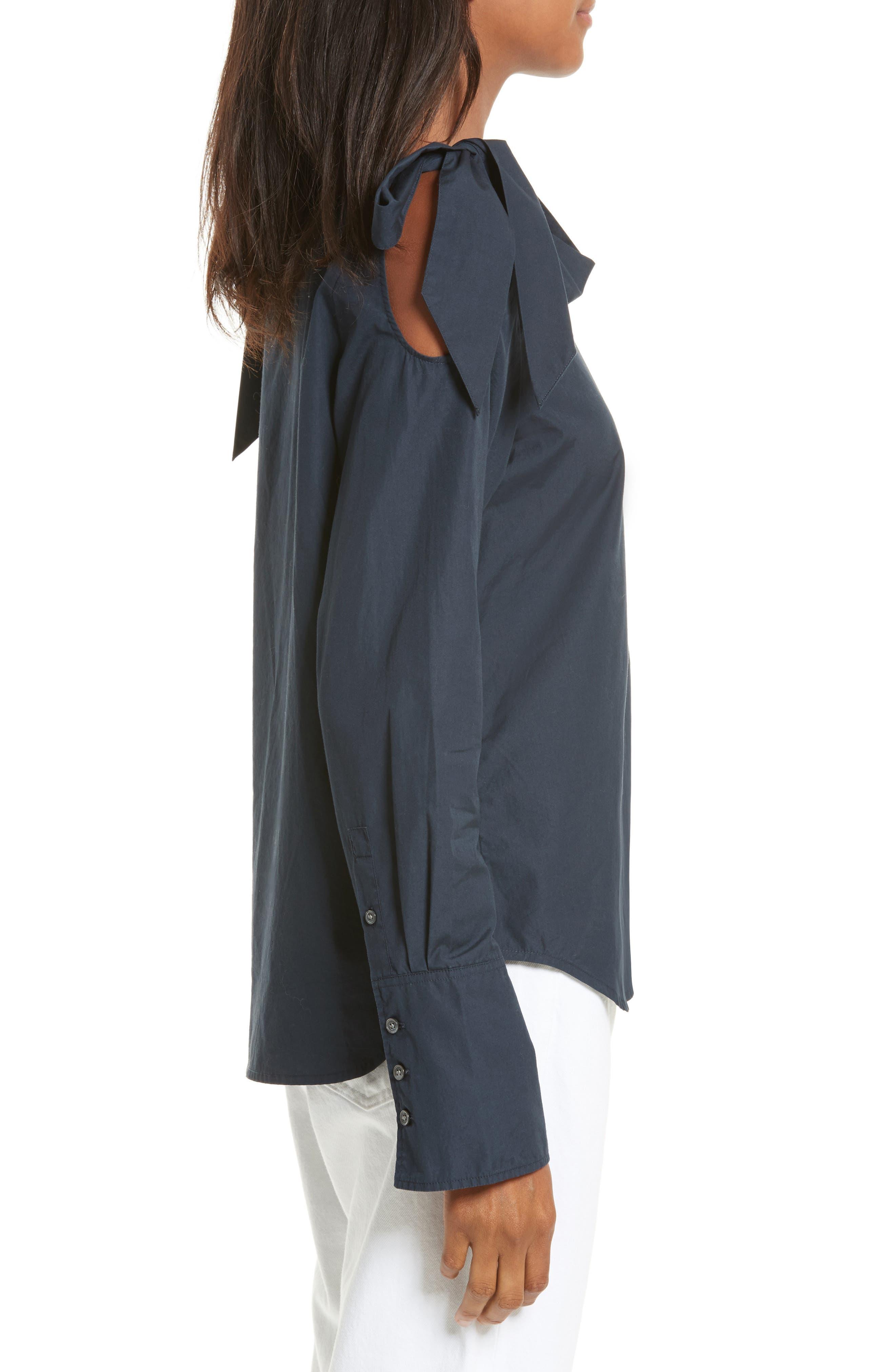 Bow Cold Shoulder Cotton Blouse,                             Alternate thumbnail 3, color,                             Navy