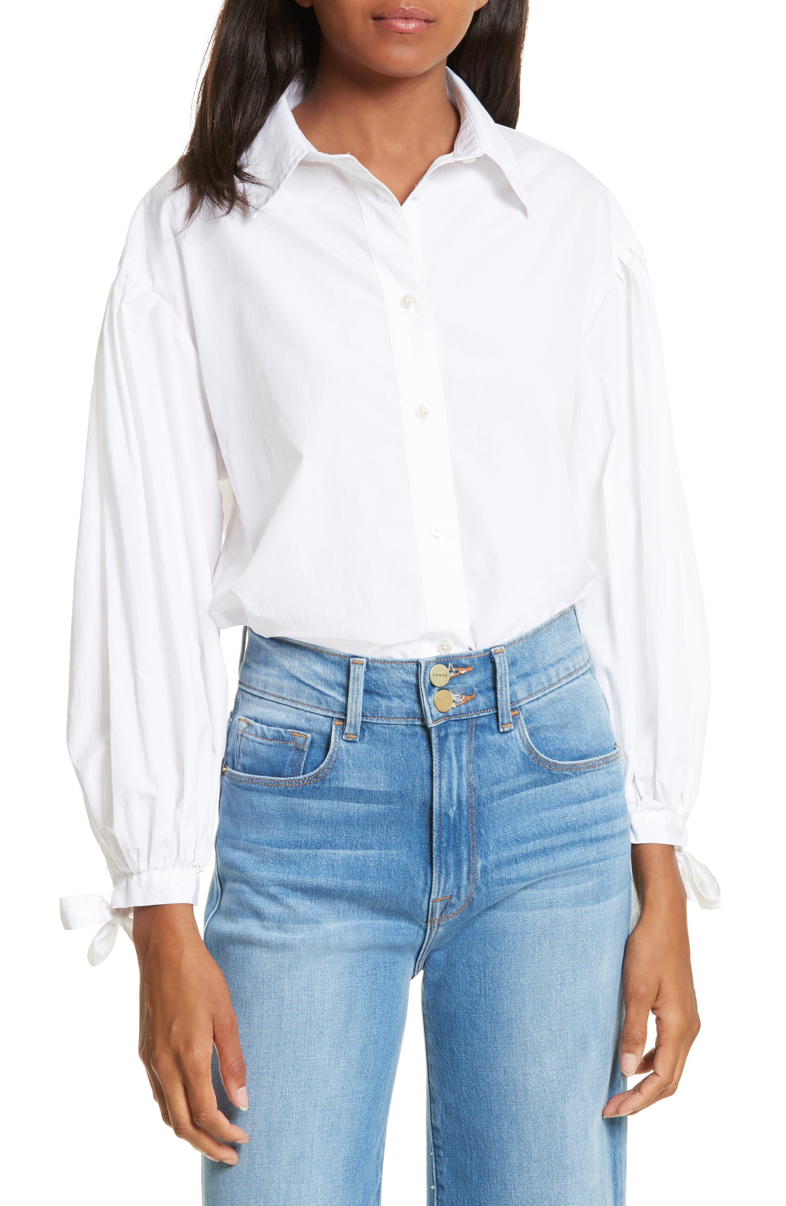 Tie Cuff Cotton Shirt,                             Main thumbnail 1, color,                             Blanc
