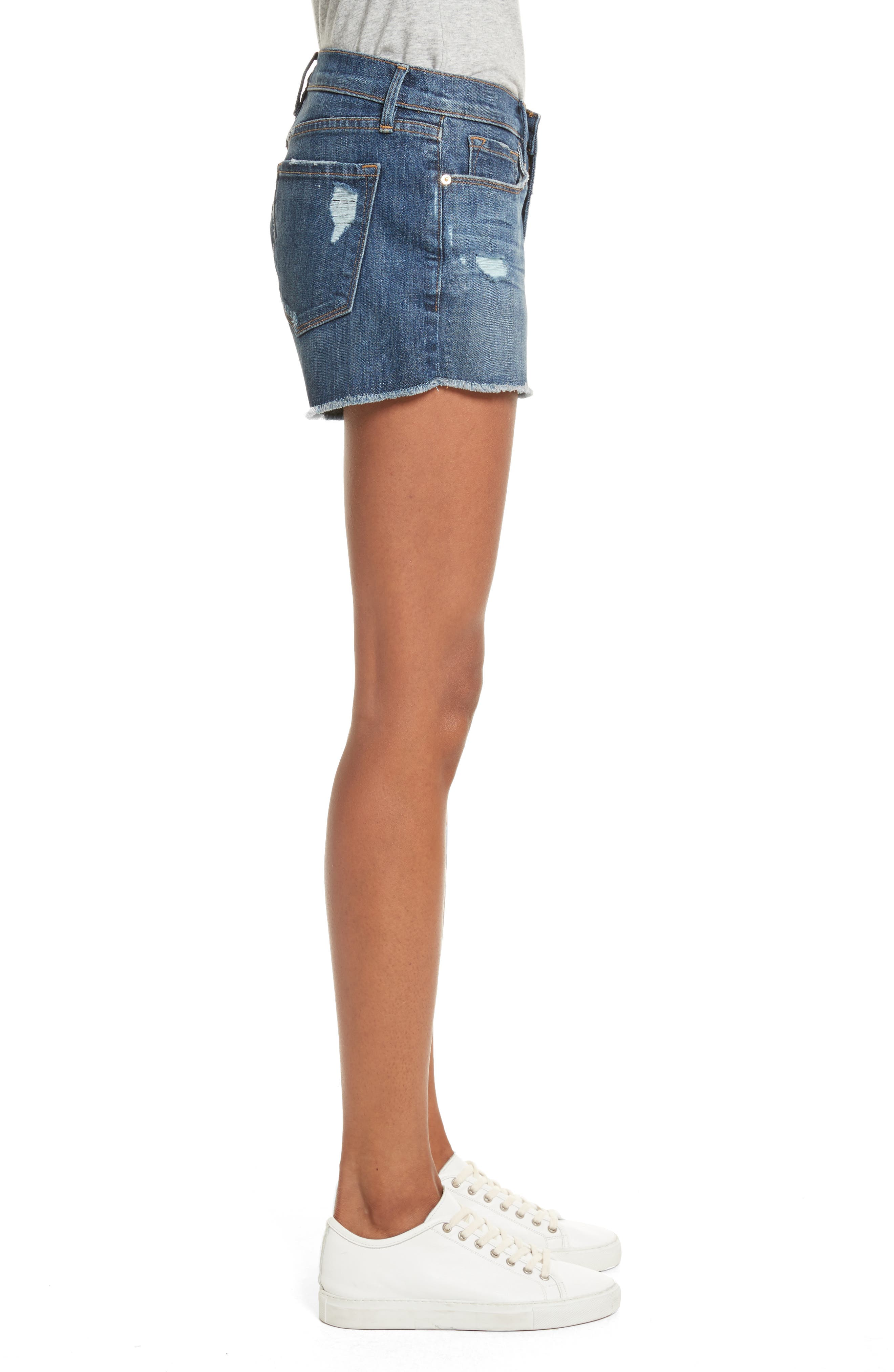 Le Cutoff Denim Shorts,                             Alternate thumbnail 4, color,                             Eckford